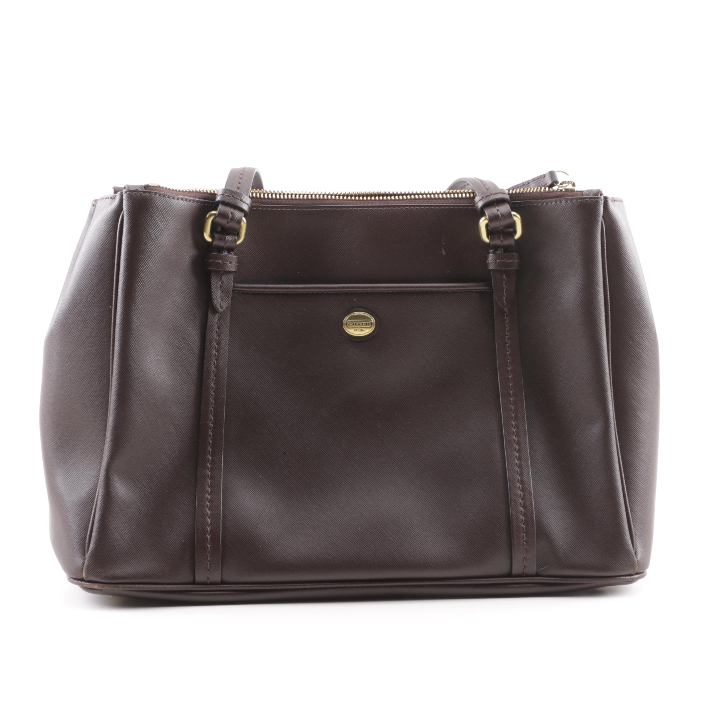 Coach Peyton Double Zip Brown Saffiano Leather Carryall Bag