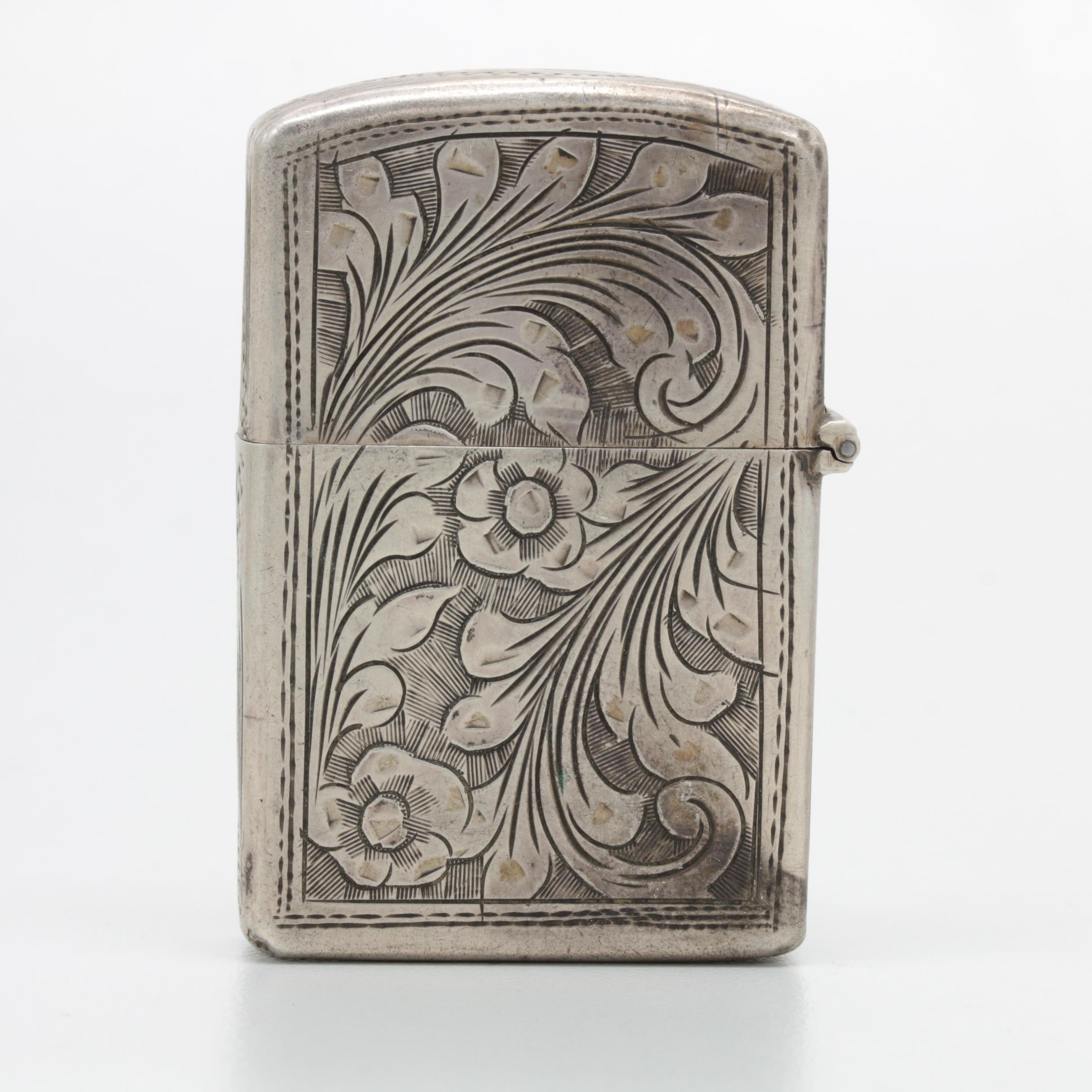 800 Silver Engraved Floral Motif Lighter