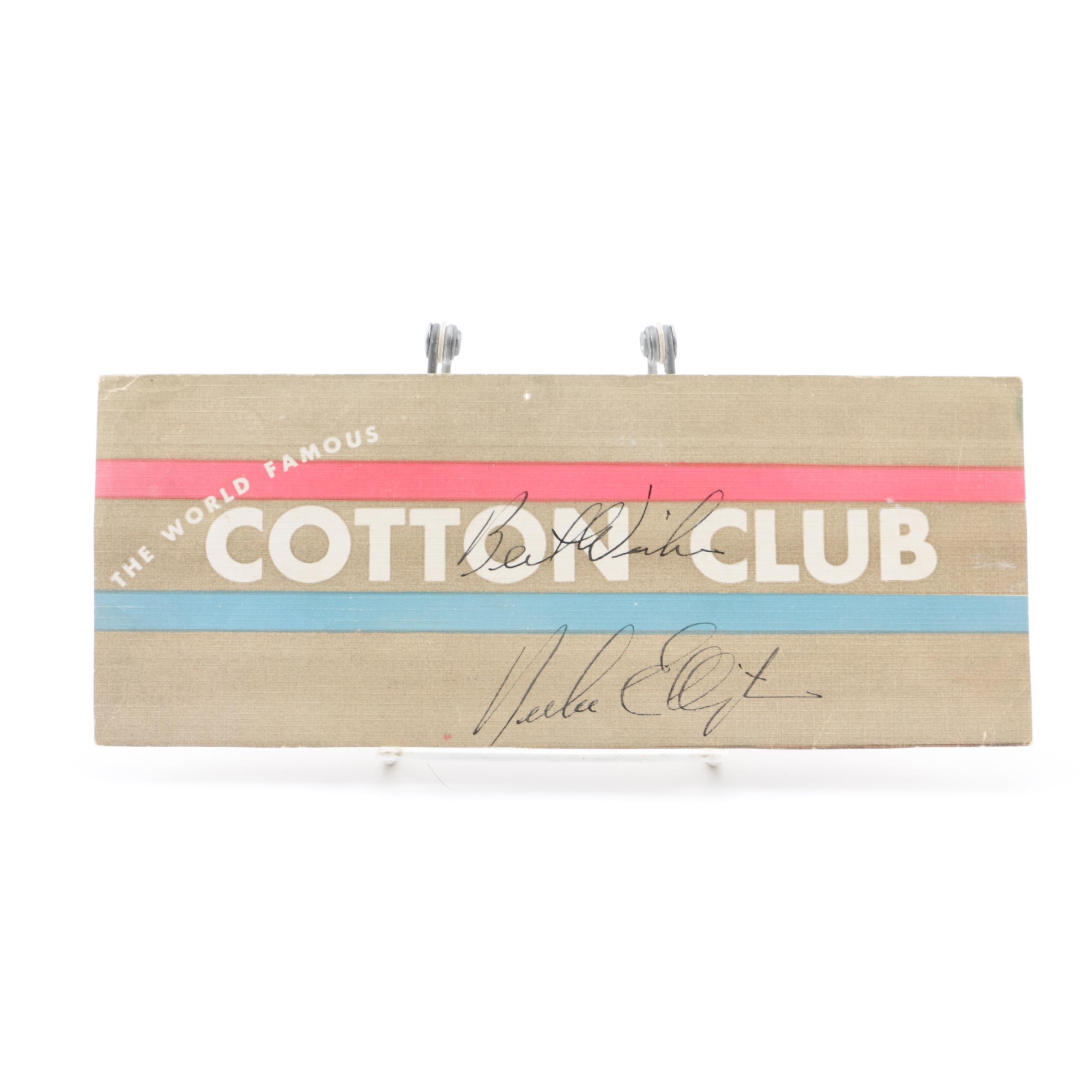 """Duke Ellington Autographed Handout Flyer for """"The World Famous Cotton Club"""""""