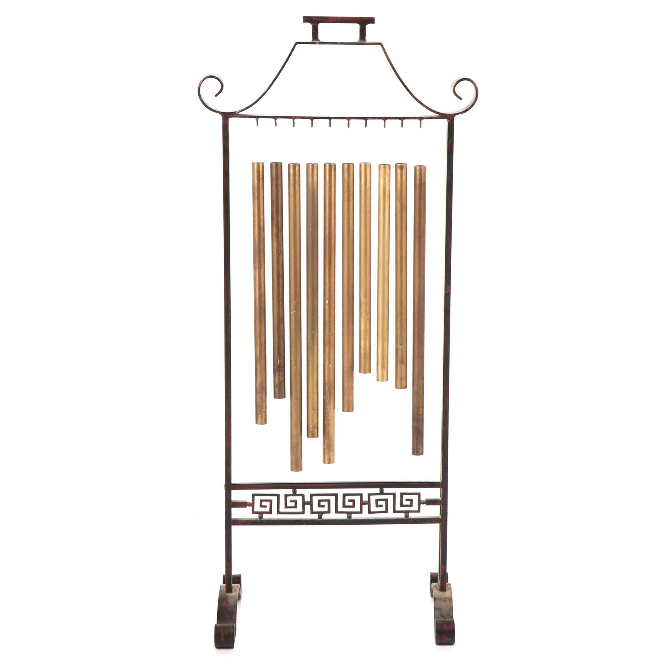 Tubular Chimes in Chinese Inspired Stand