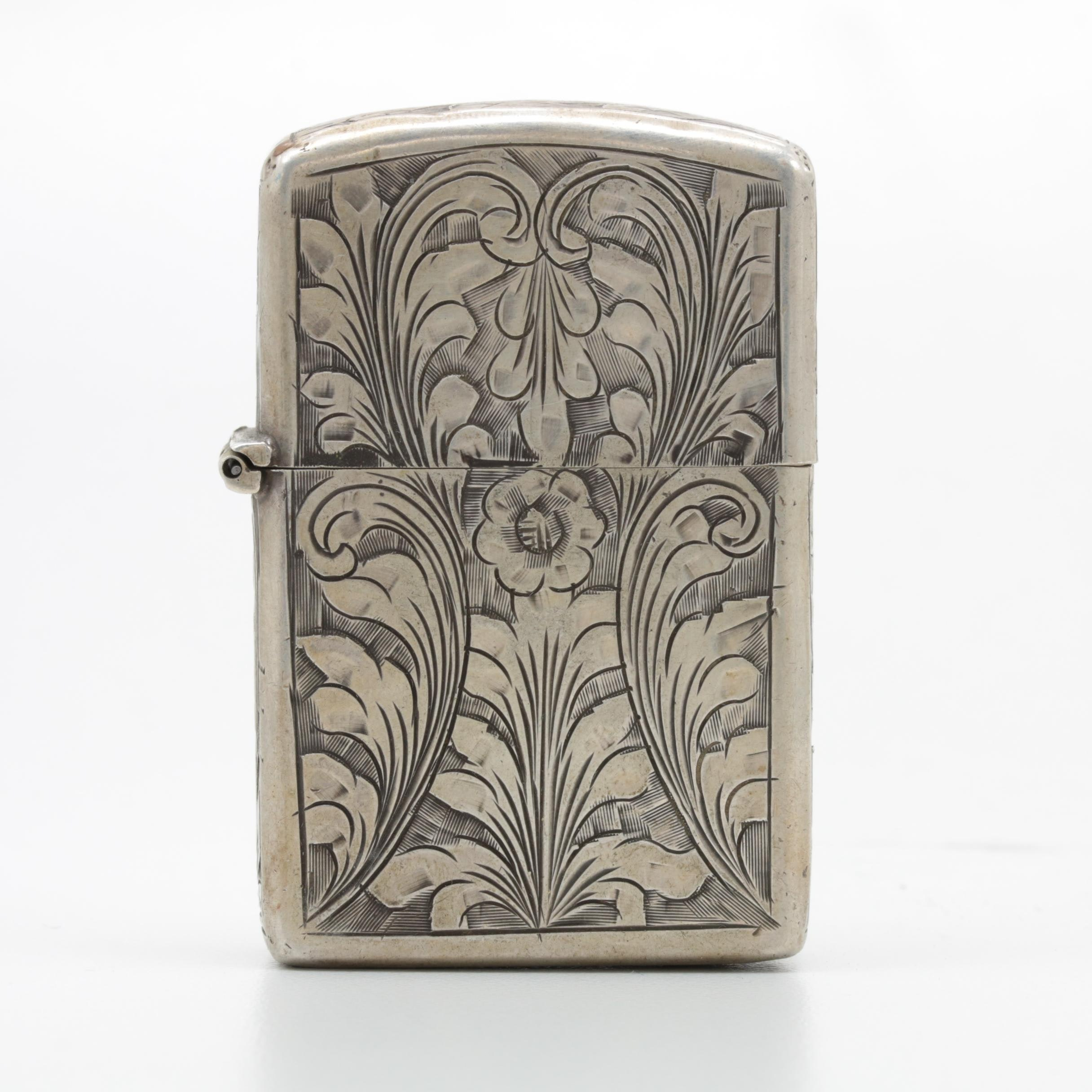 800 Silver Lighter with Engraved Details