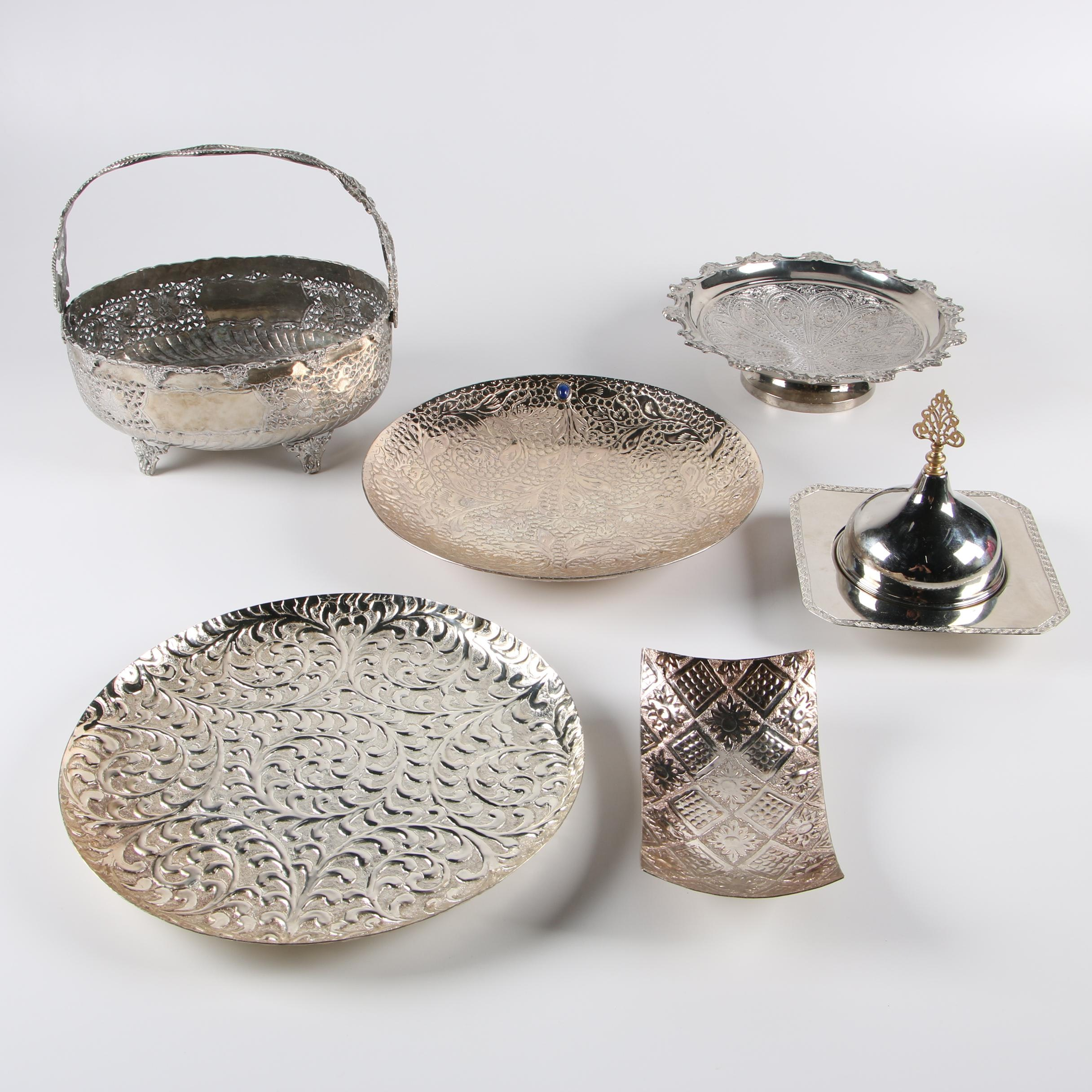 Taneez Silver Plate Trays with Other Middle Eastern Silver Plate Serveware