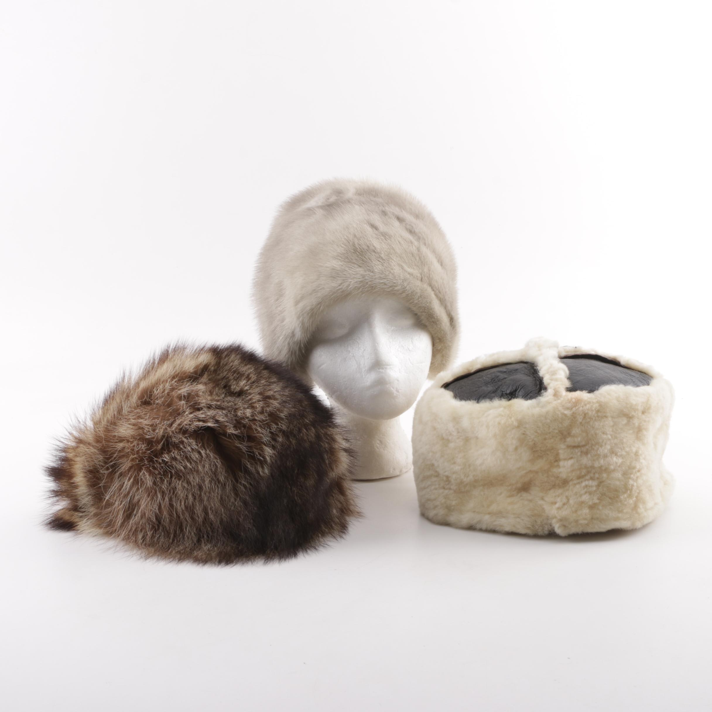 Raccoon, Shearling, and Mink Hats Including Mad Bomber and Morgan's