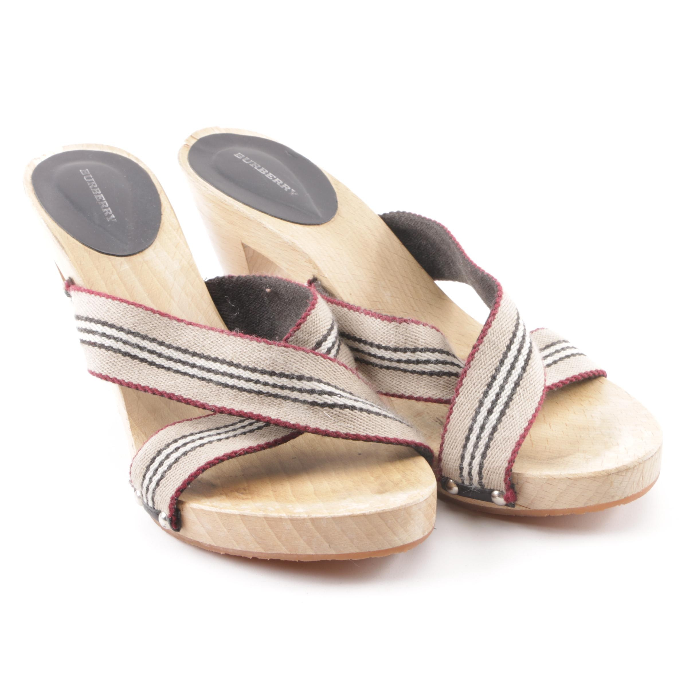 Burberry Canvas and Wood High-Heeled Sandals