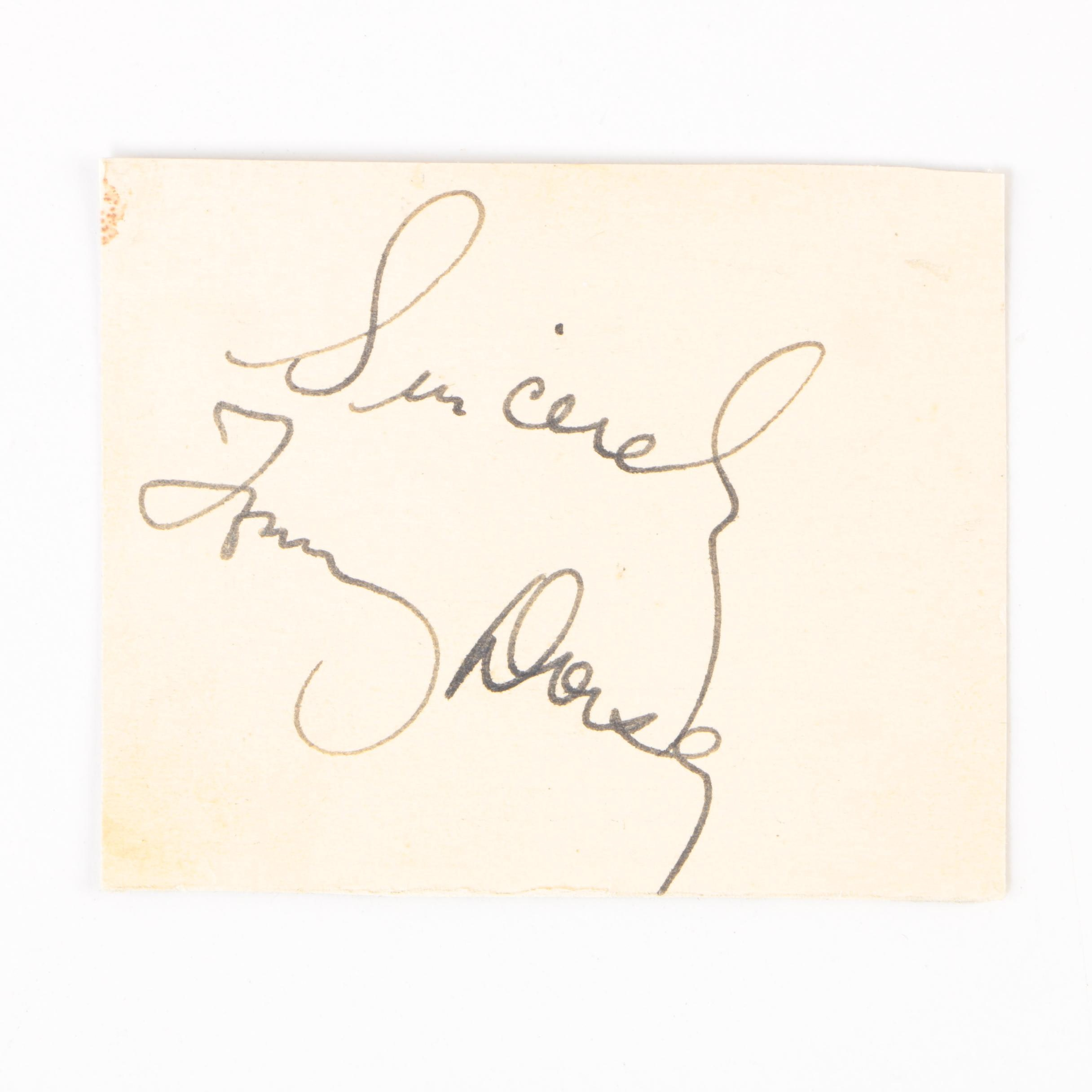 Bandleader Tommy Dorsey Autographed Card