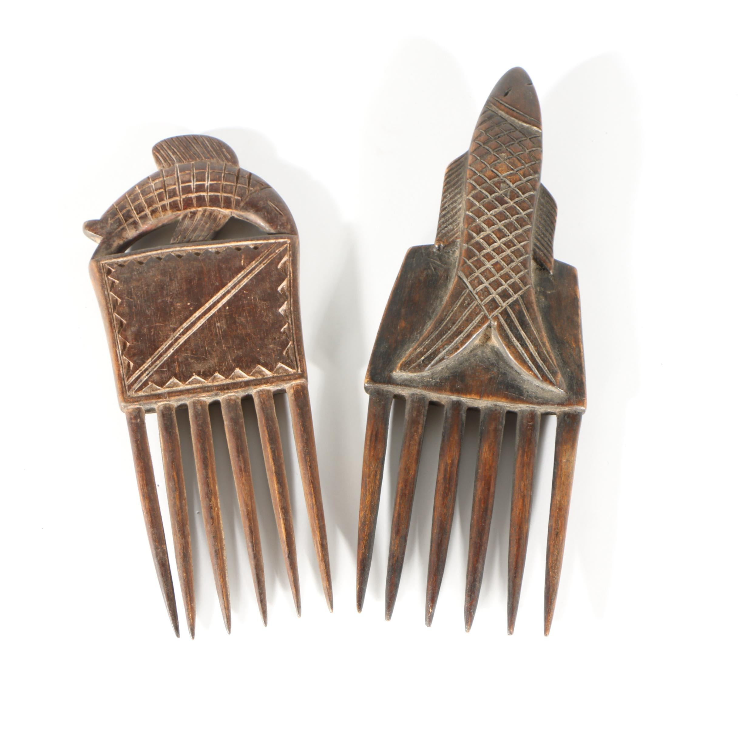 20th Century Ornamental Baule Combs from Côte d'Ivoire