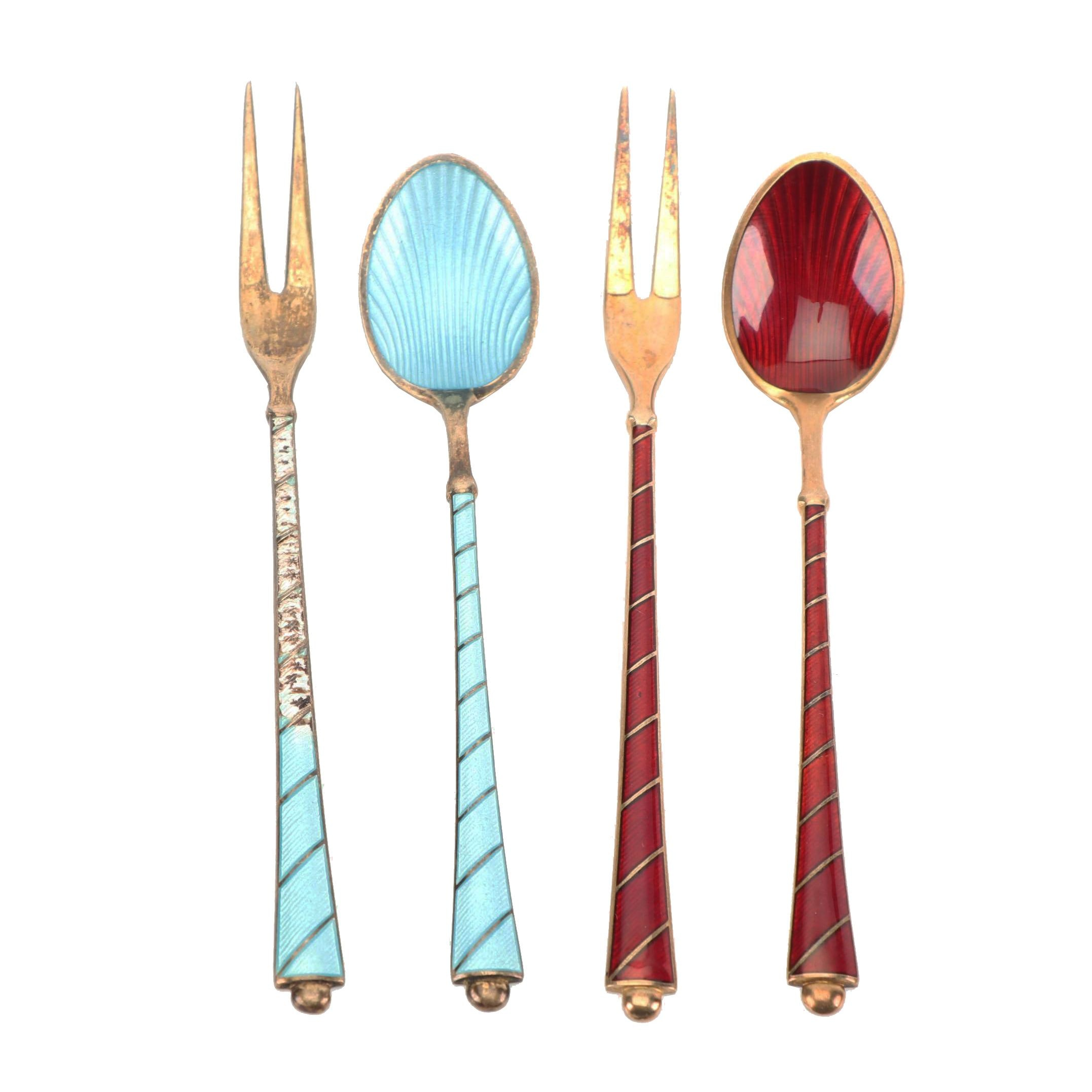 Ela Danish Guilloché Enameled Sterling Silver Demitasse Spoon and Fork Sets