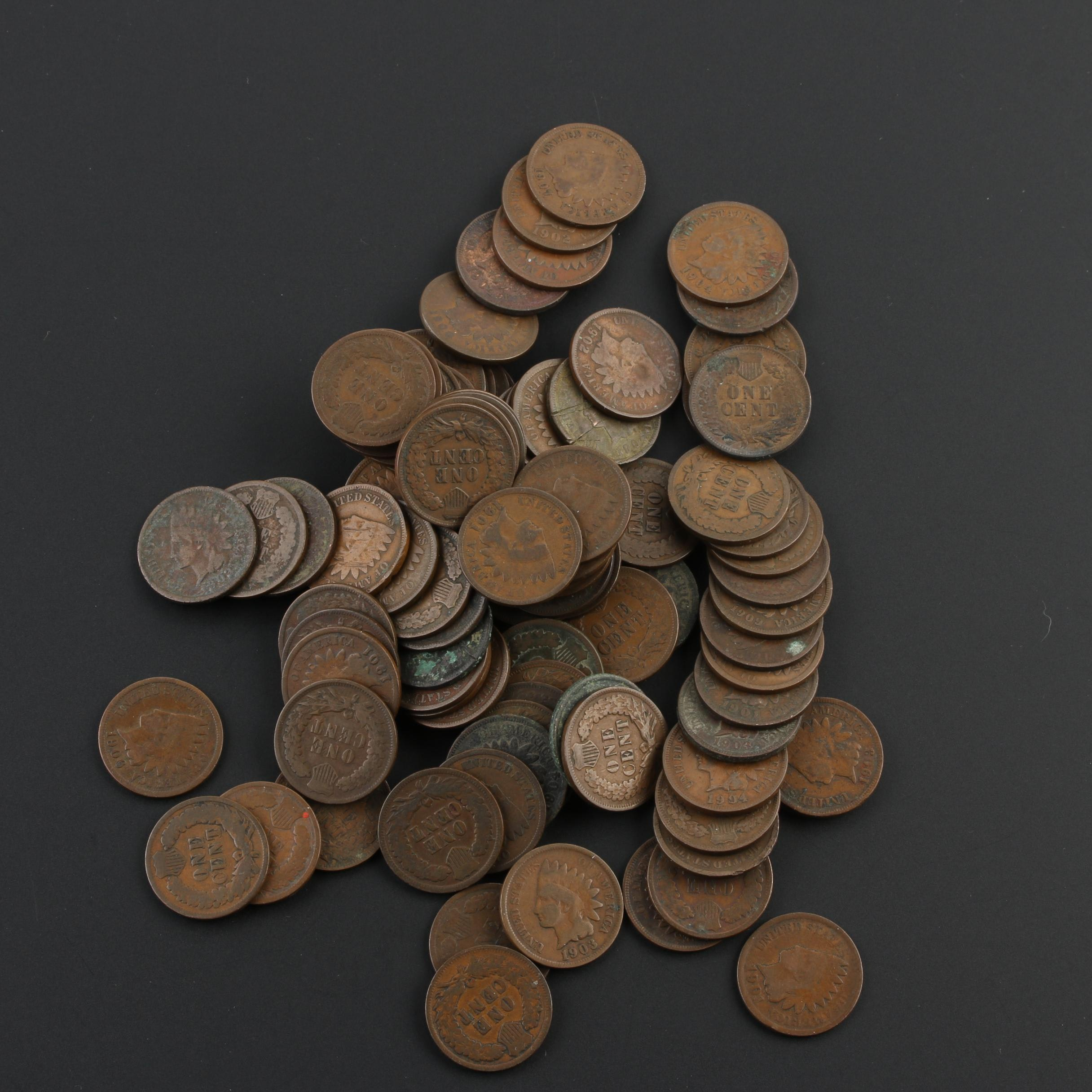 Group of 94 Indian Head Cents