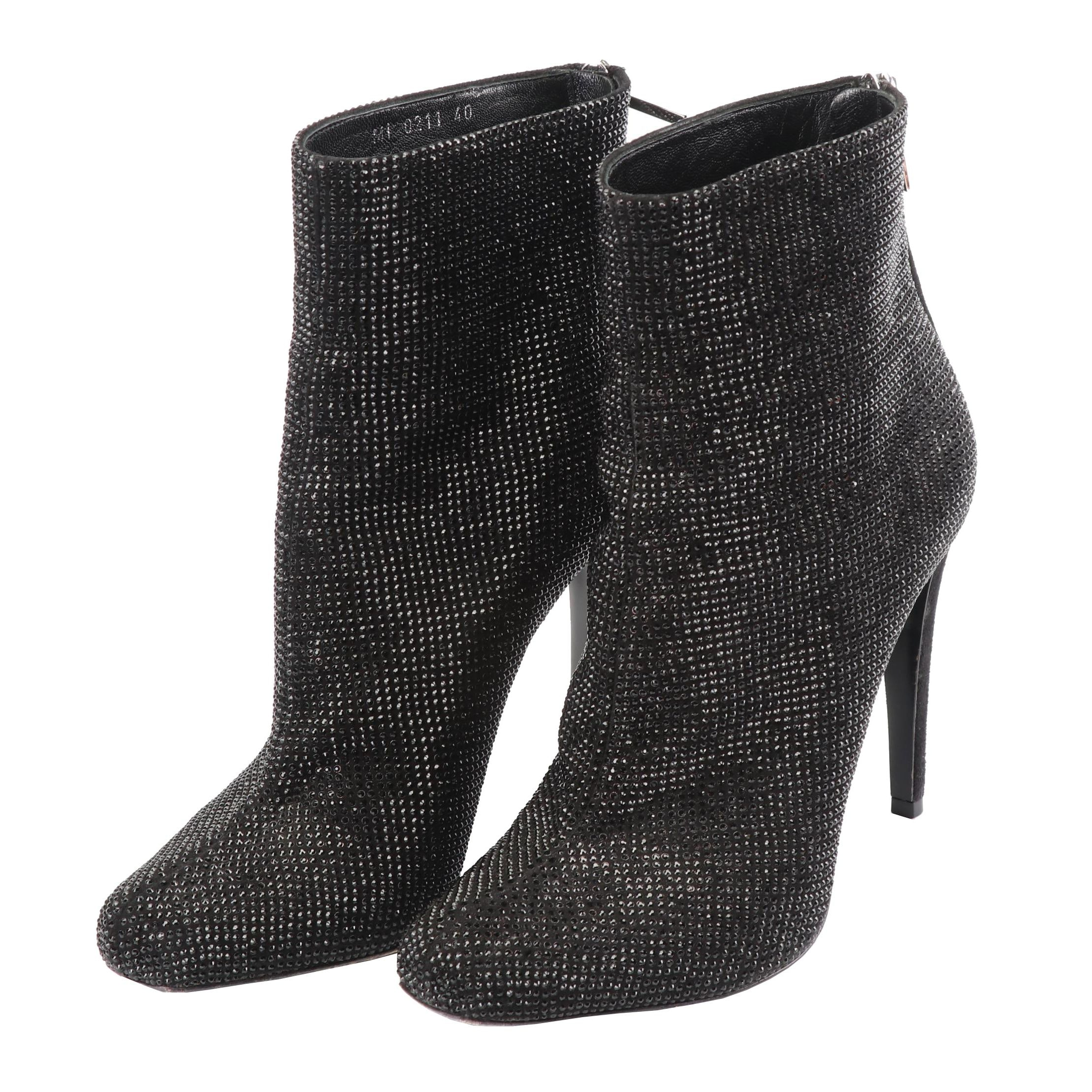 Christian Dior Black Suede Rhinestone Encrusted Booties