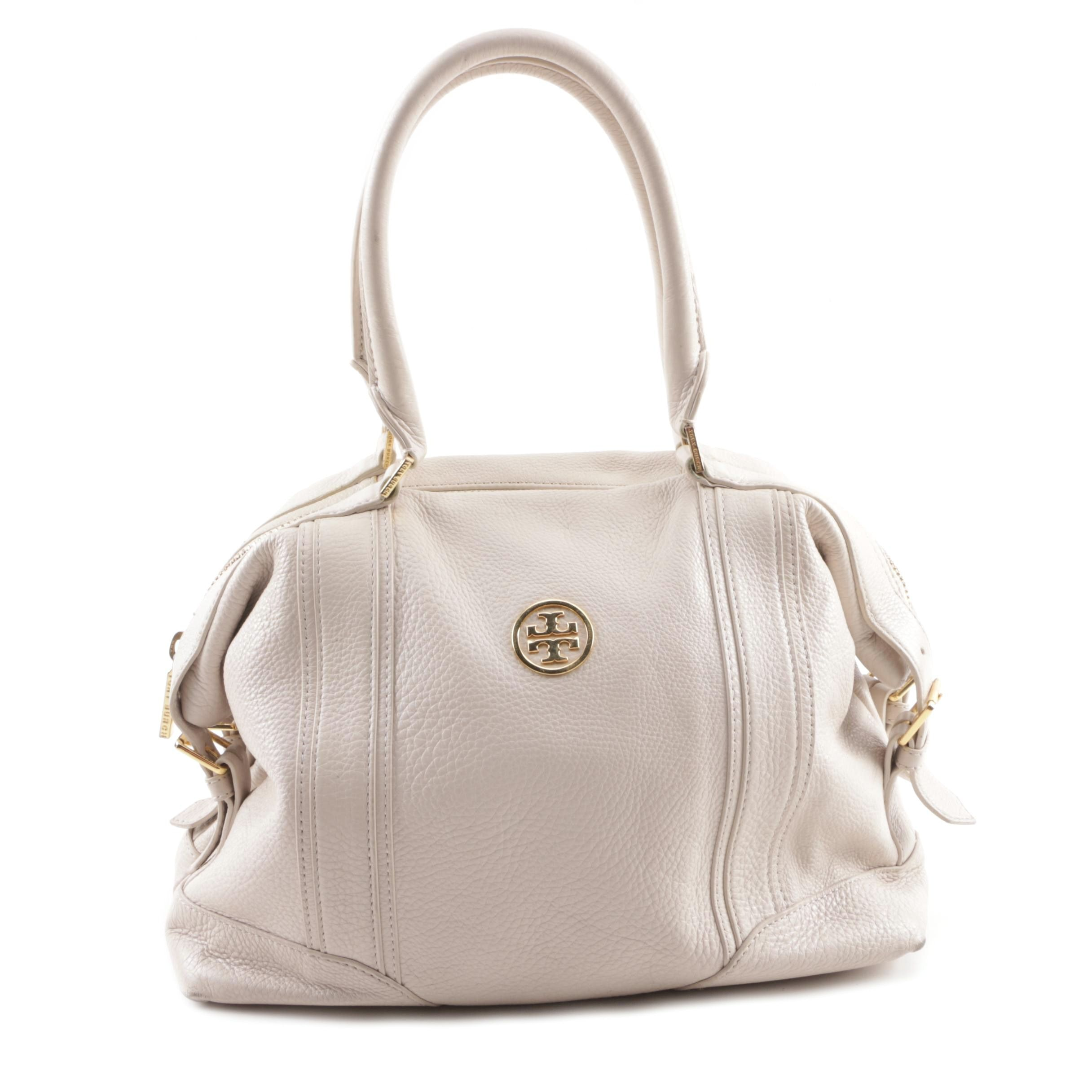 Tory Burch Off-White Pebbled Leather Satchel