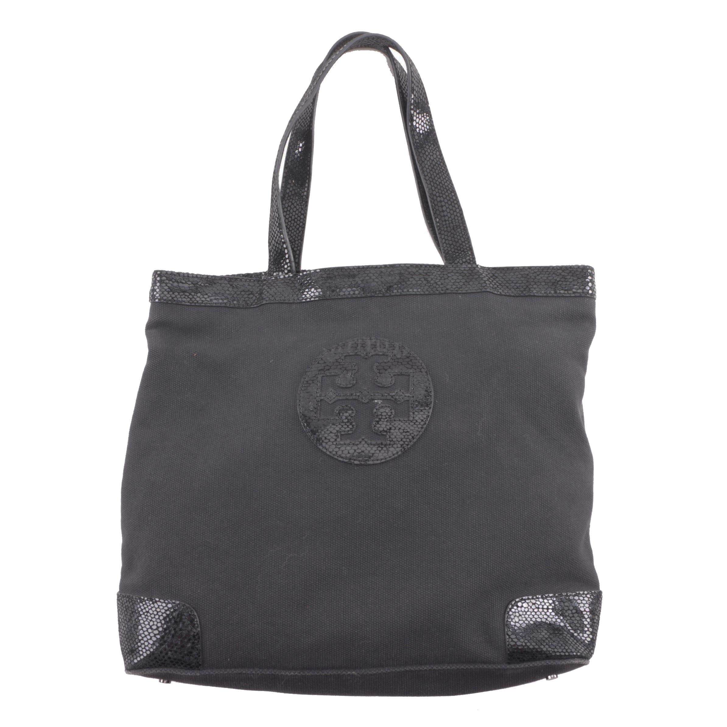 Tory Burch Black Canvas Tote with Reptile Embossed Suede Trim