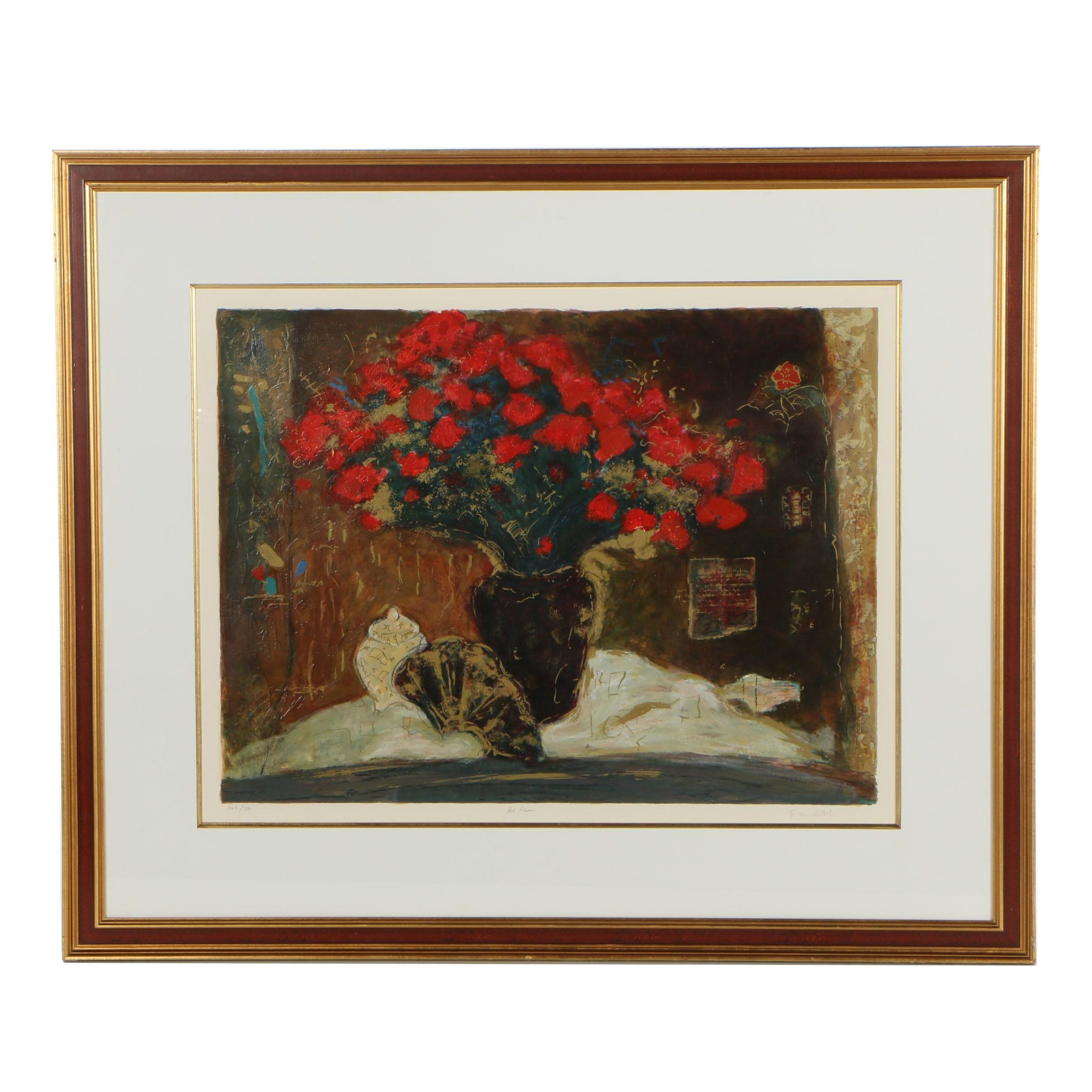 """Roy Fairchild-Woodard Embellished Serigraph """"Red Flowers"""""""