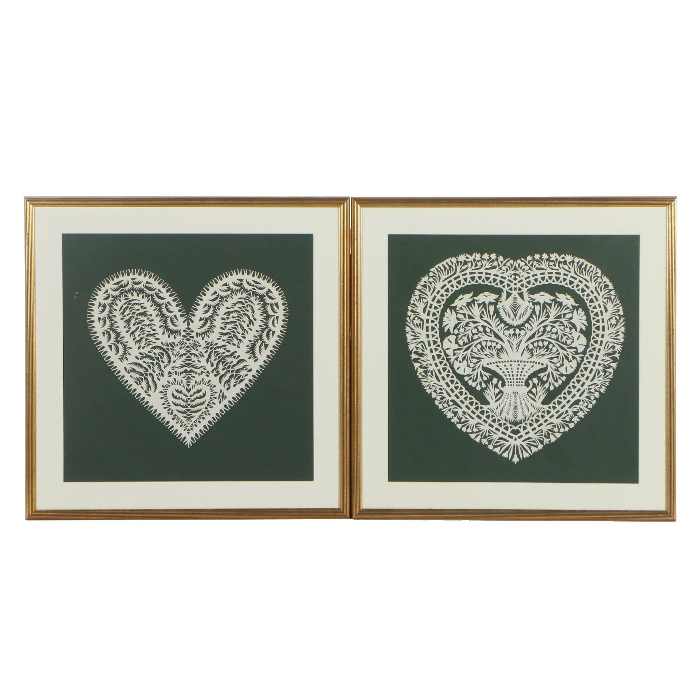 Framed Scherenschnitte Paper Hearts