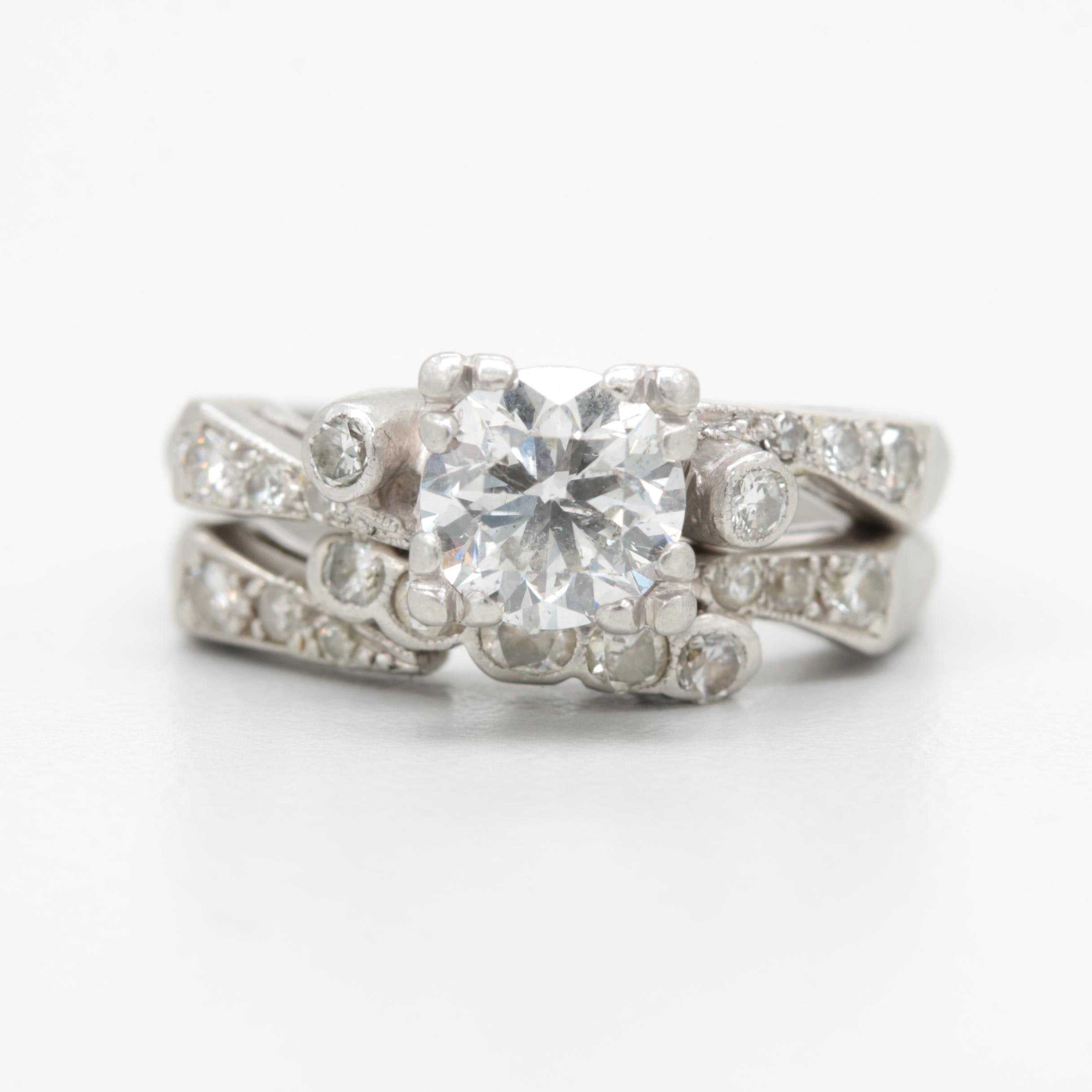 Vintage Platinum 1.42 CTW Diamond Ring Set