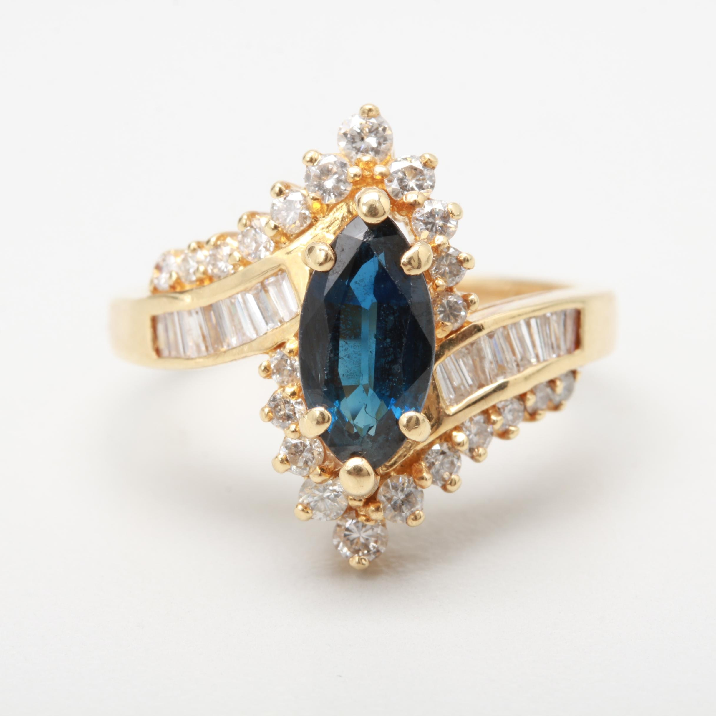 14K Yellow Gold 1.15 CT Sapphire and Diamond Ring
