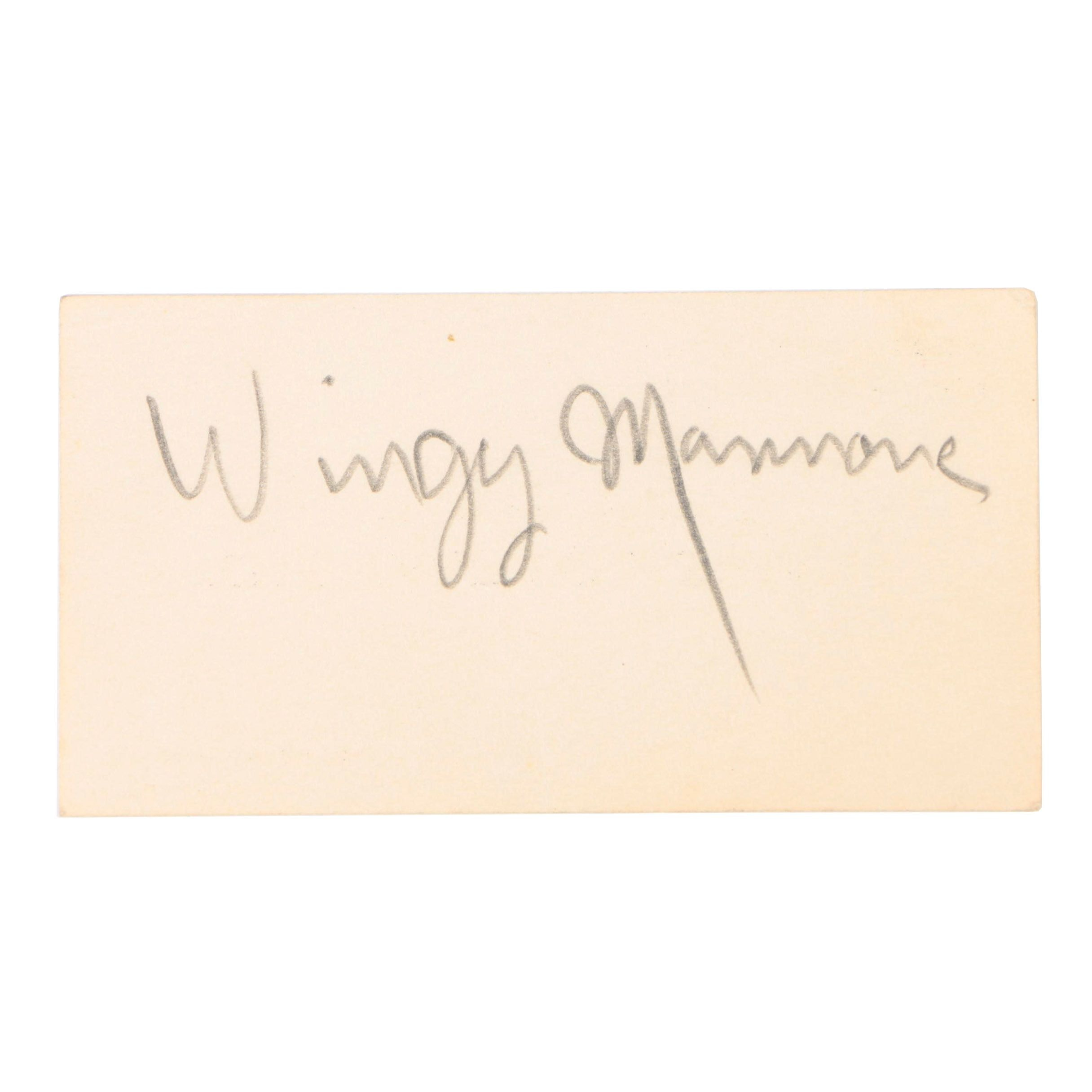 American Jazz Trumpeter Wingy Manone Autograph