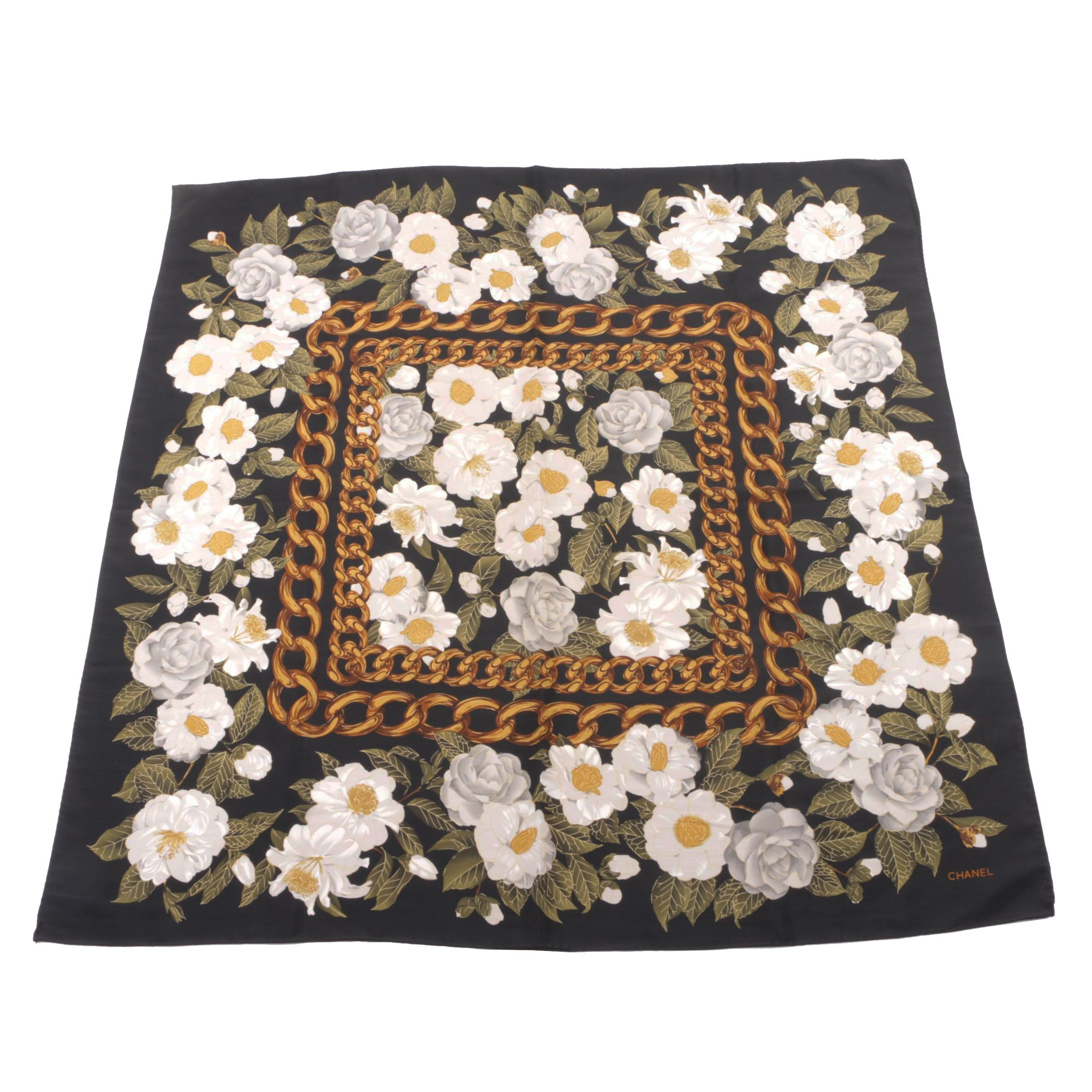 Vintage Chanel Camellia Print Silk Scarf