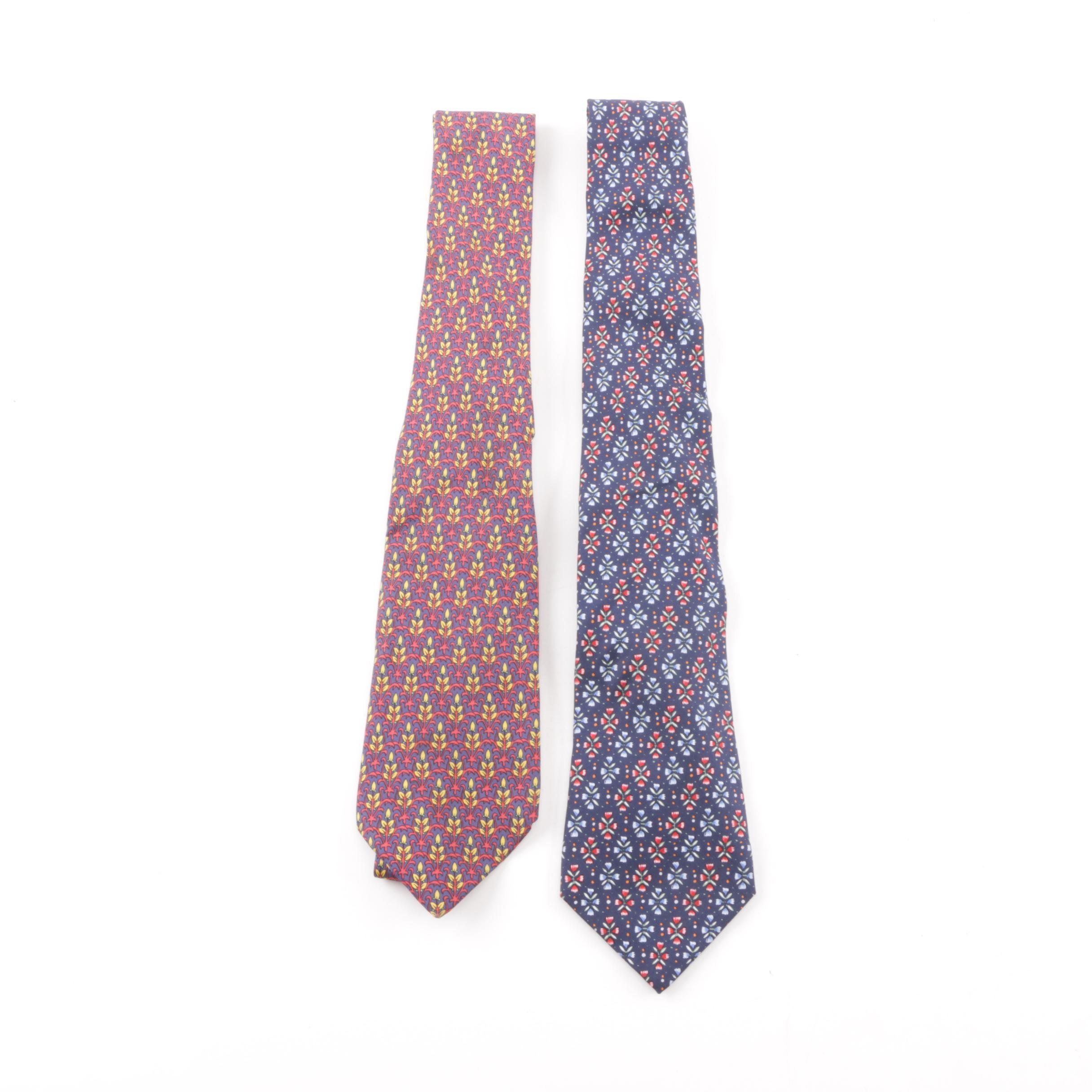 Hermès of Paris Floral Print Silk Neckties