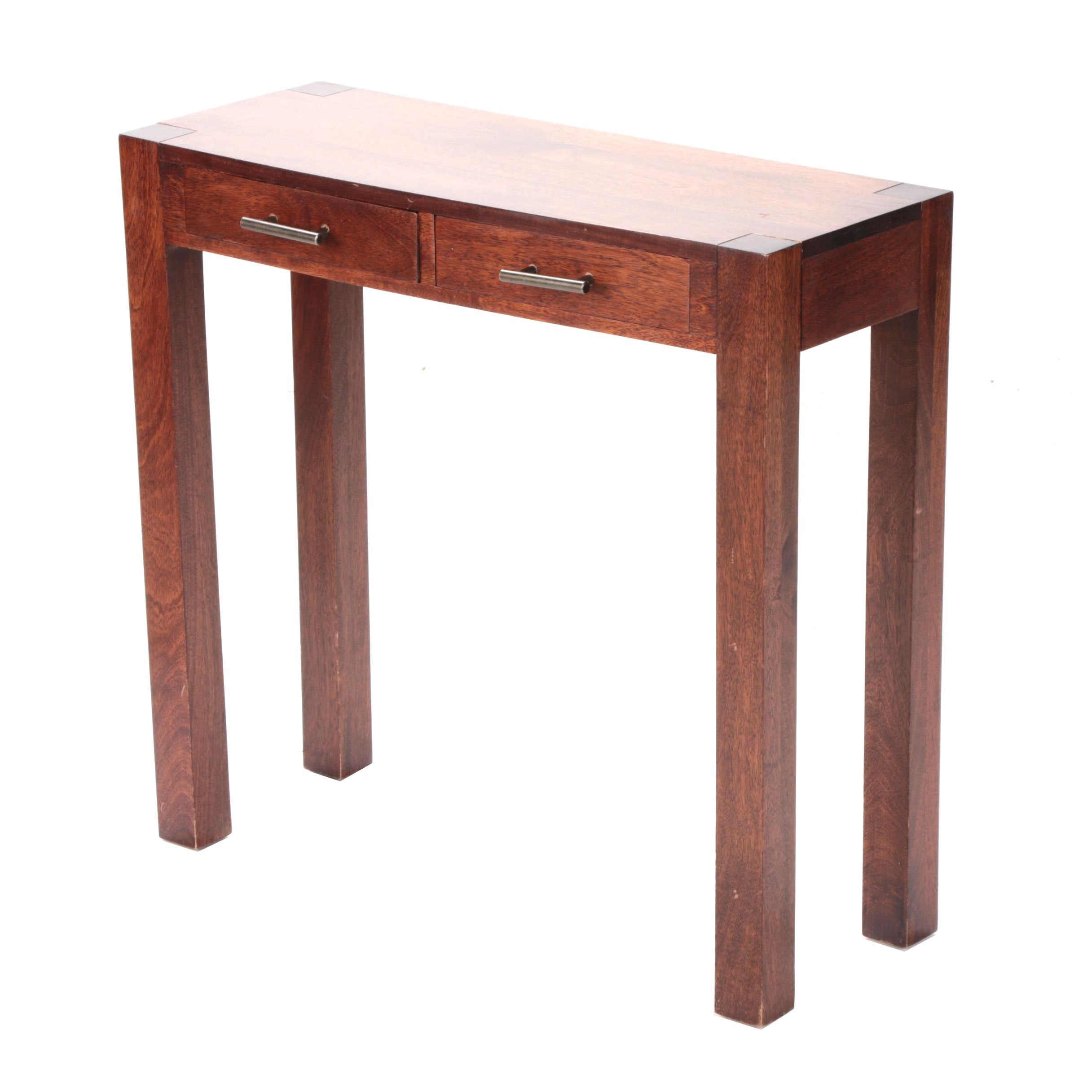 Contemporary Mahogany Two-Drawer Console Table