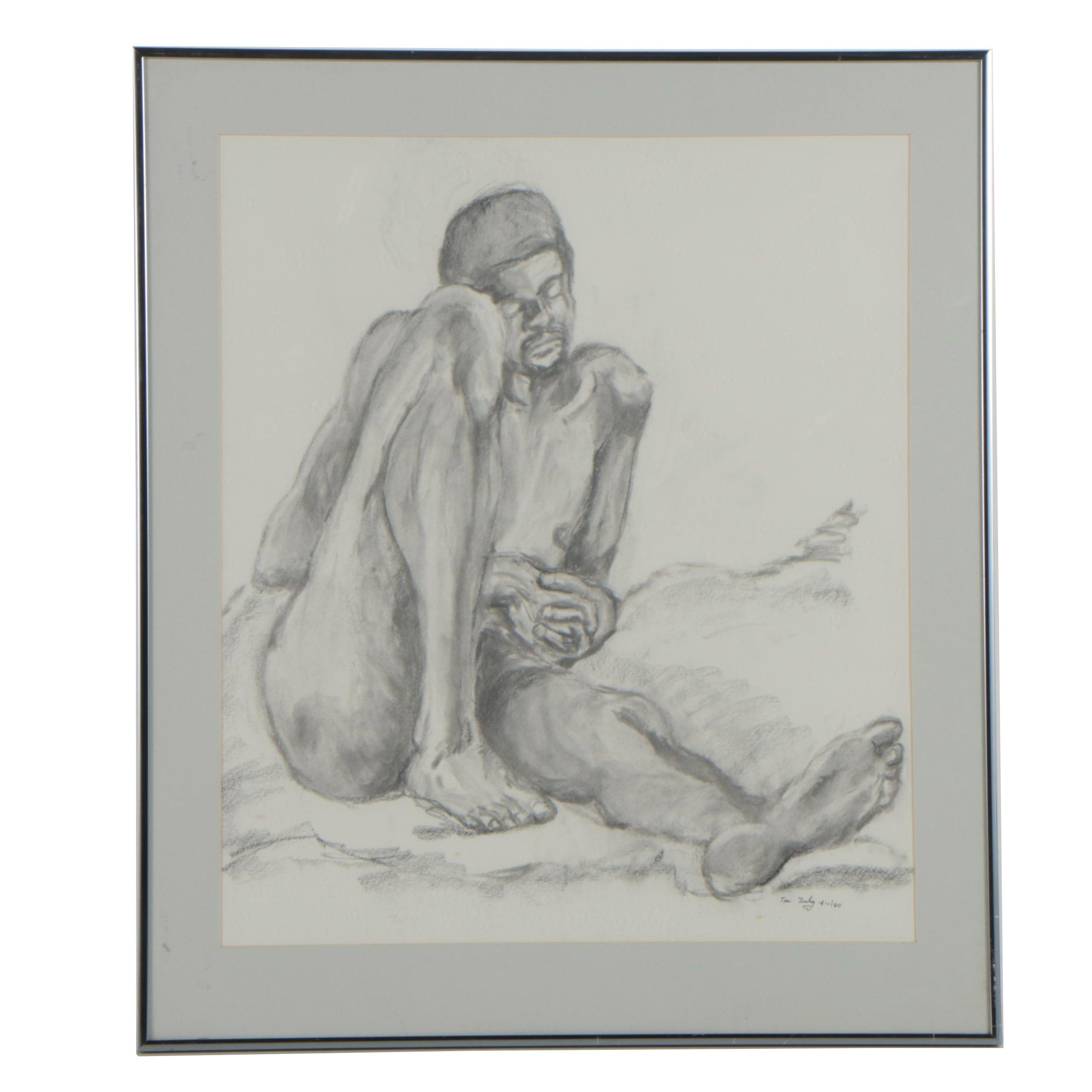 Charcoal Drawing Attributed to Tom Brady