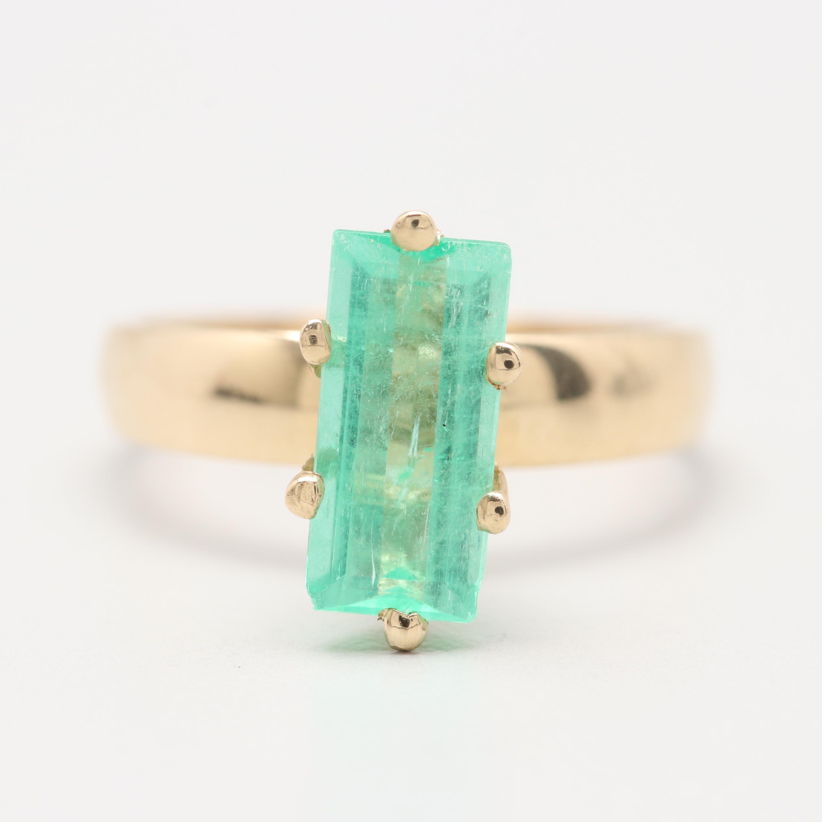 14K Yellow Gold 1.18 CT Emerald Ring