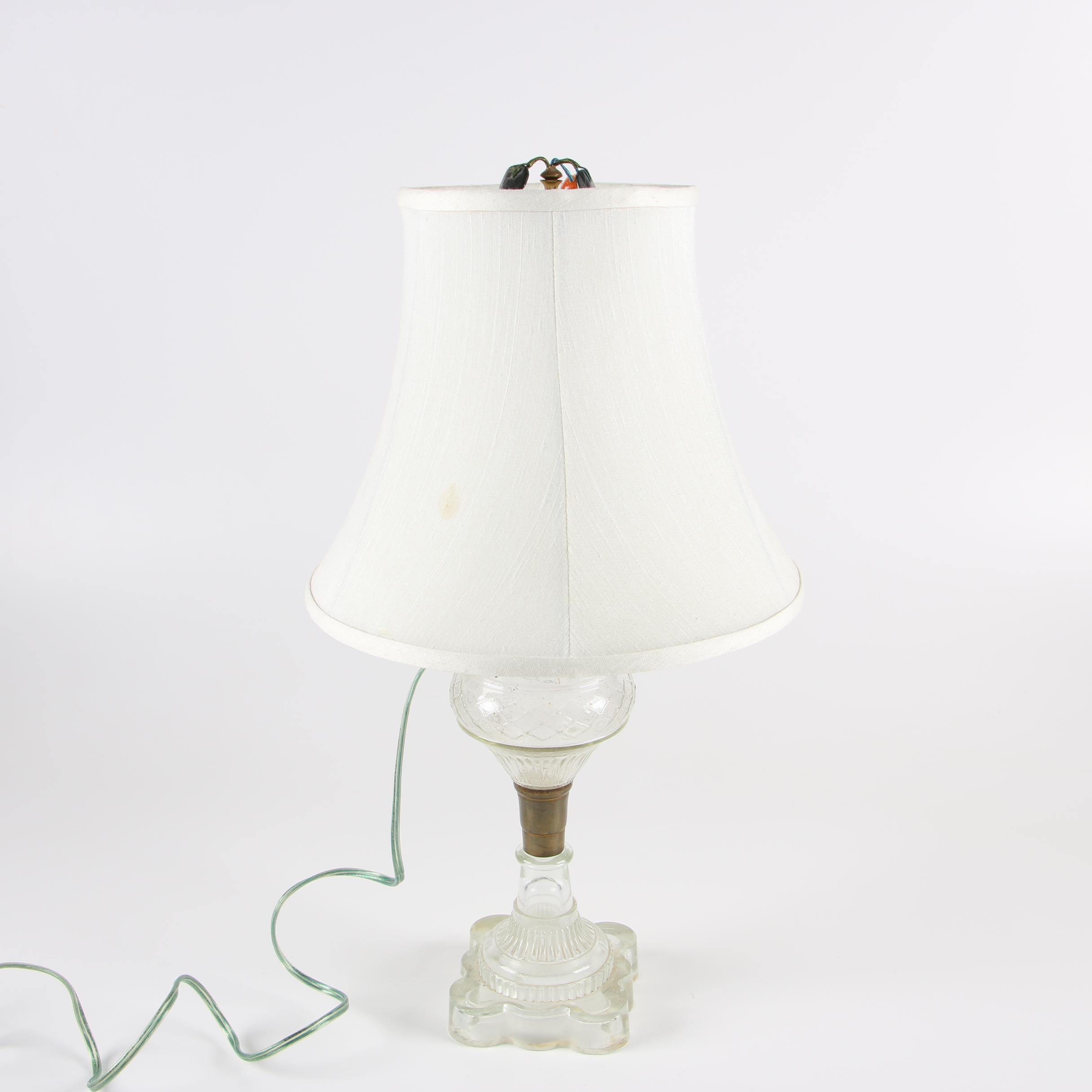 Converted Pressed Glass Oil Lamp With Canterbury Fabric Shade