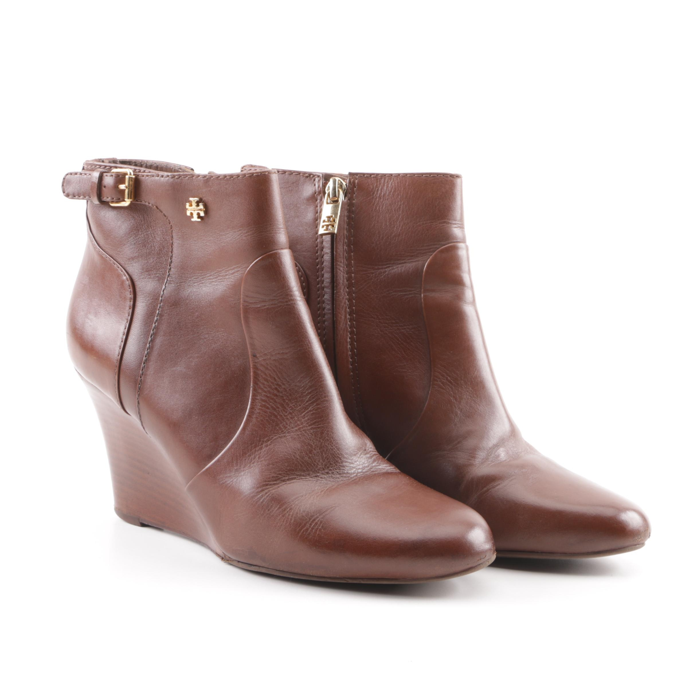 Tory Burch Brown Leather Wedge Ankle Booties