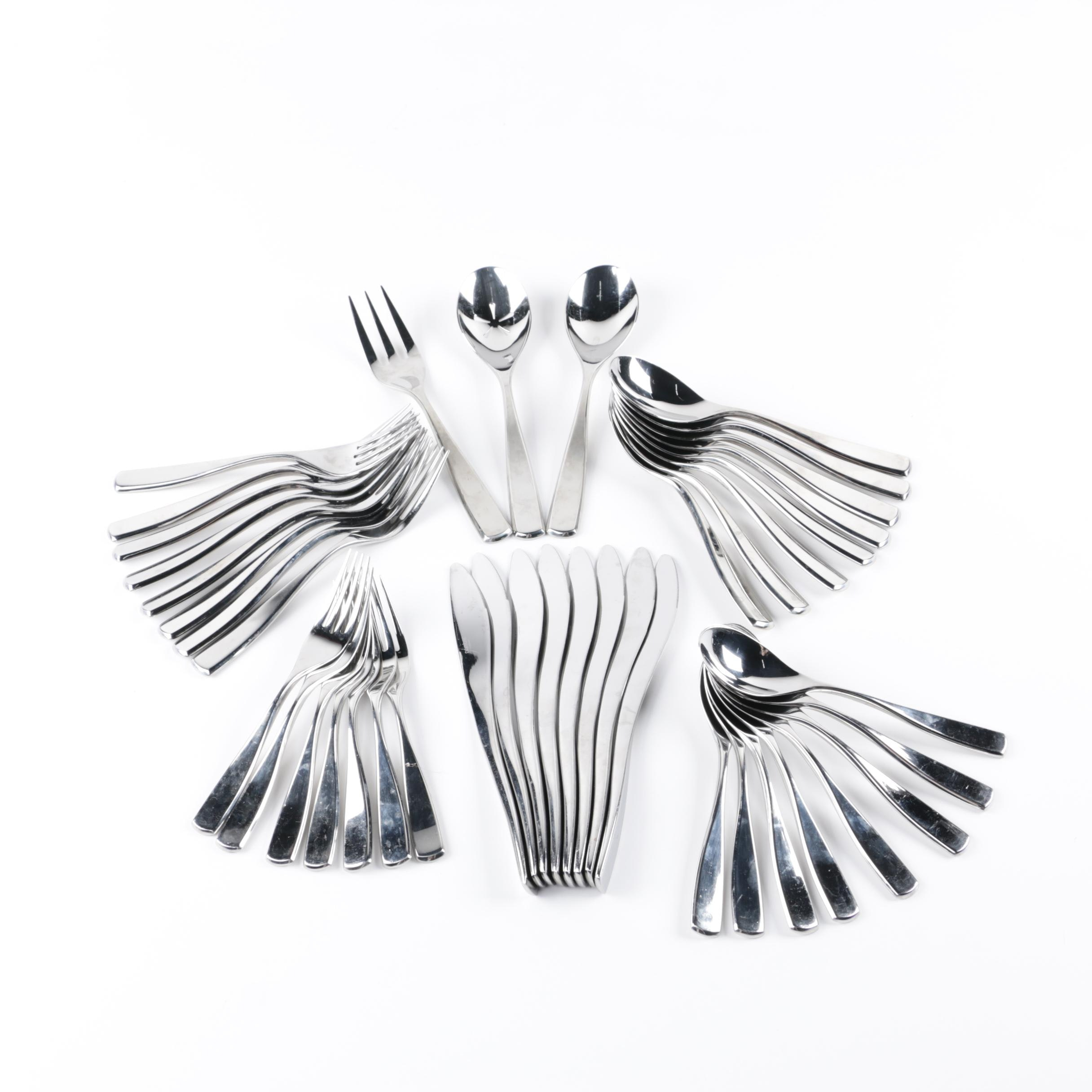 "Nambé ""Anna"" Stainless Steel Flatware and Serving Utensils"
