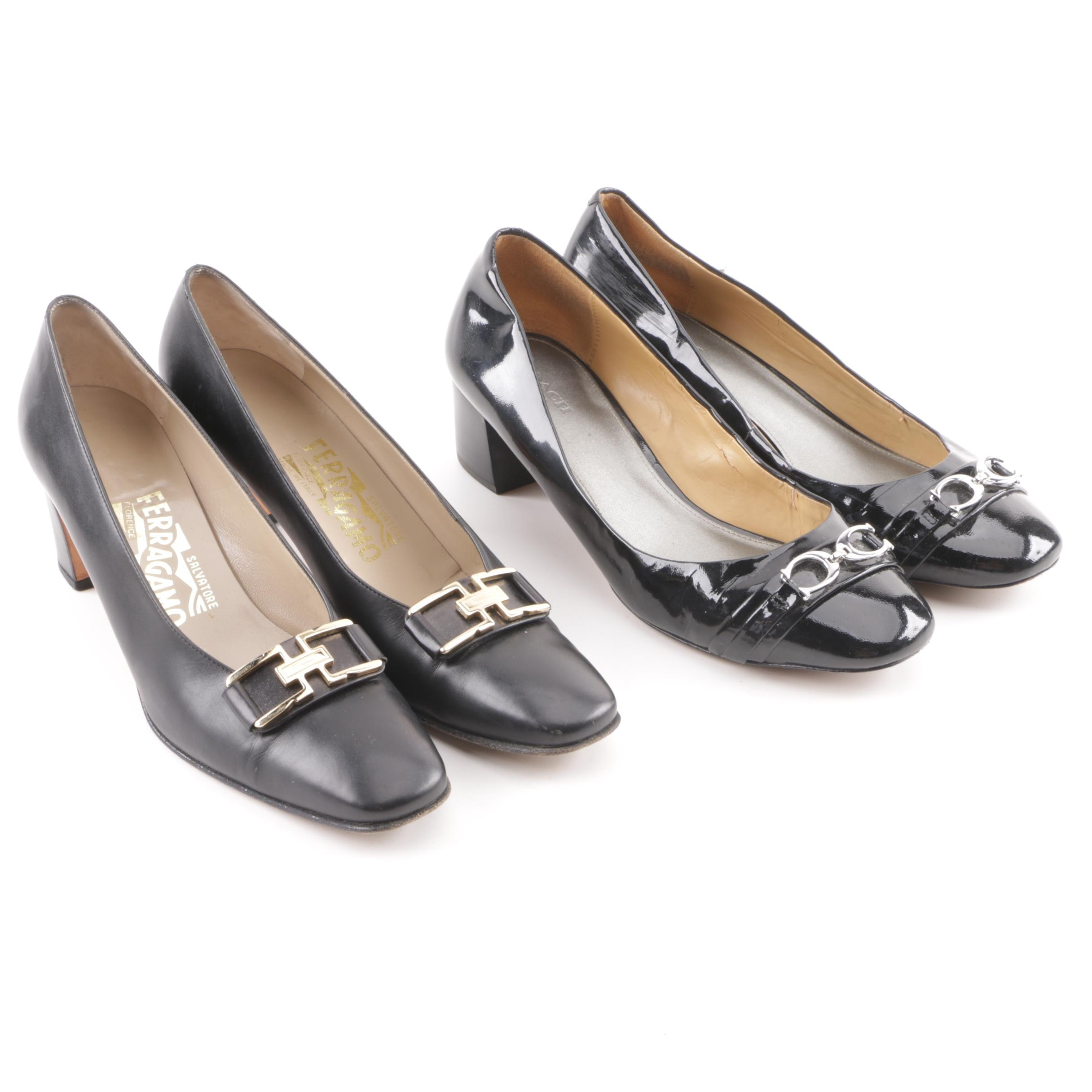 Salvatore Ferragamo and Coach Black Leather Low-Heeled Pumps with Brand Buckles
