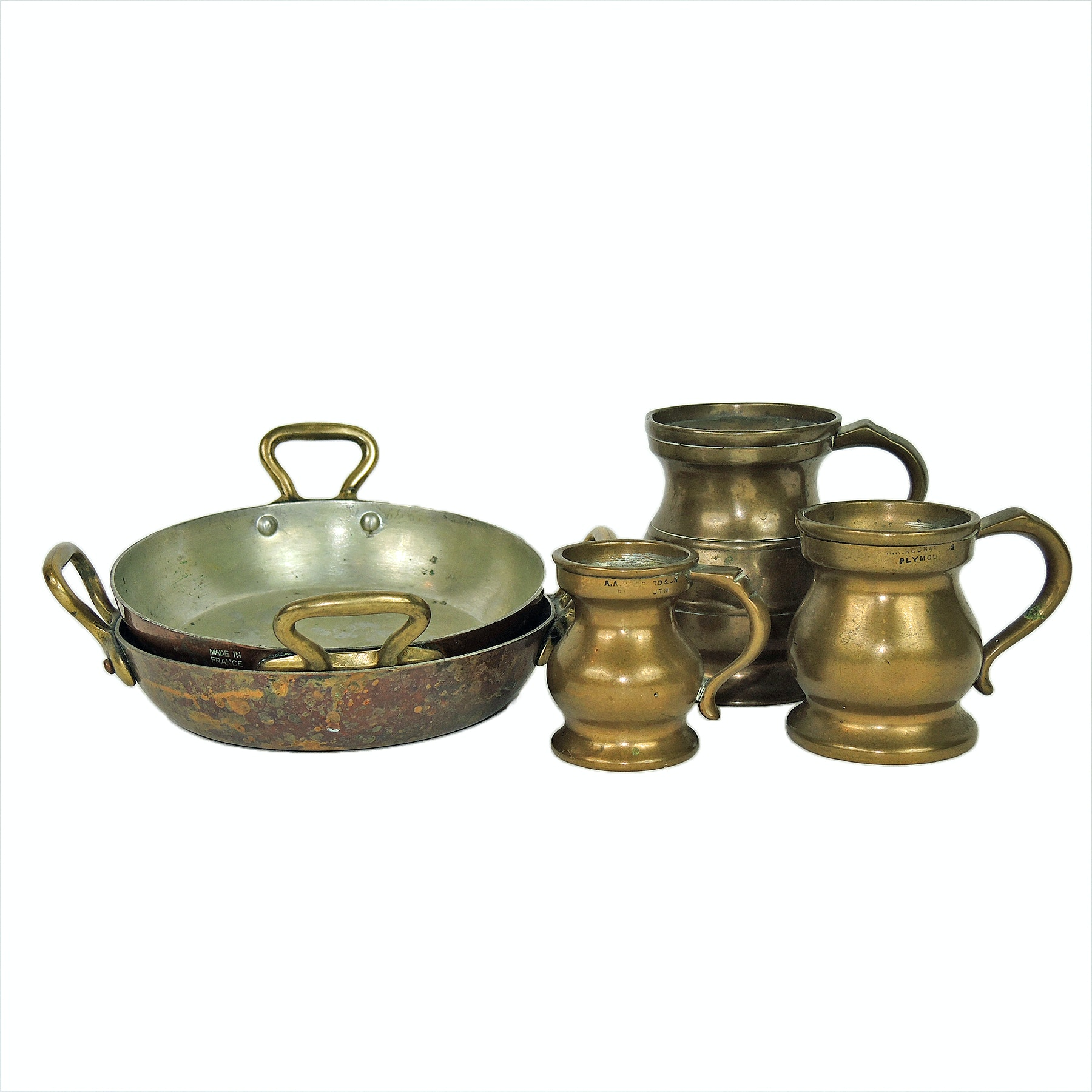 Bronze Graduate English Tavern Measures and Double Handled Skillets