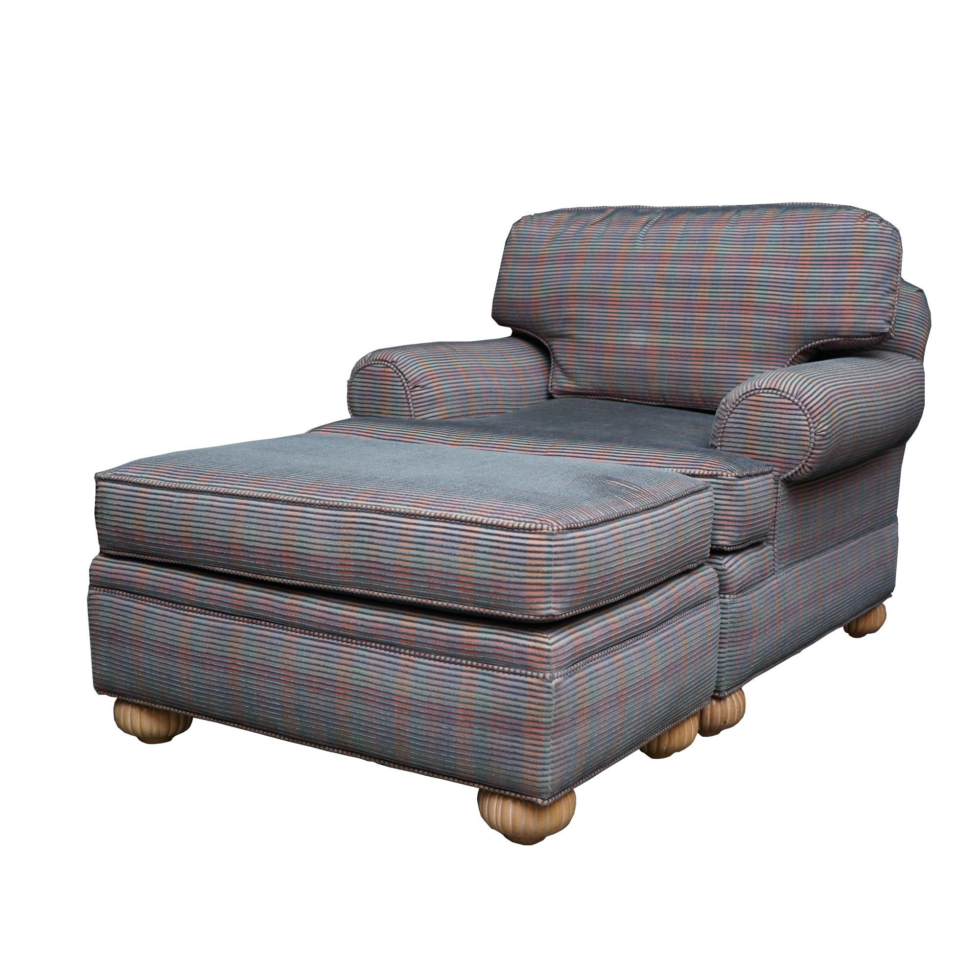Upholstered Armchair and Ottoman by Pearson