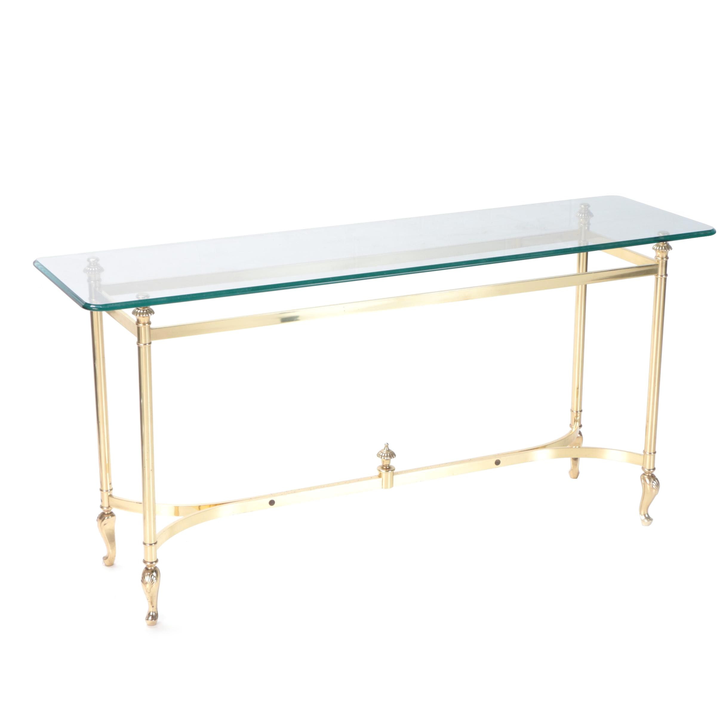 Hollywood Regency Style Glass Top Console Table, Mid 20th Century