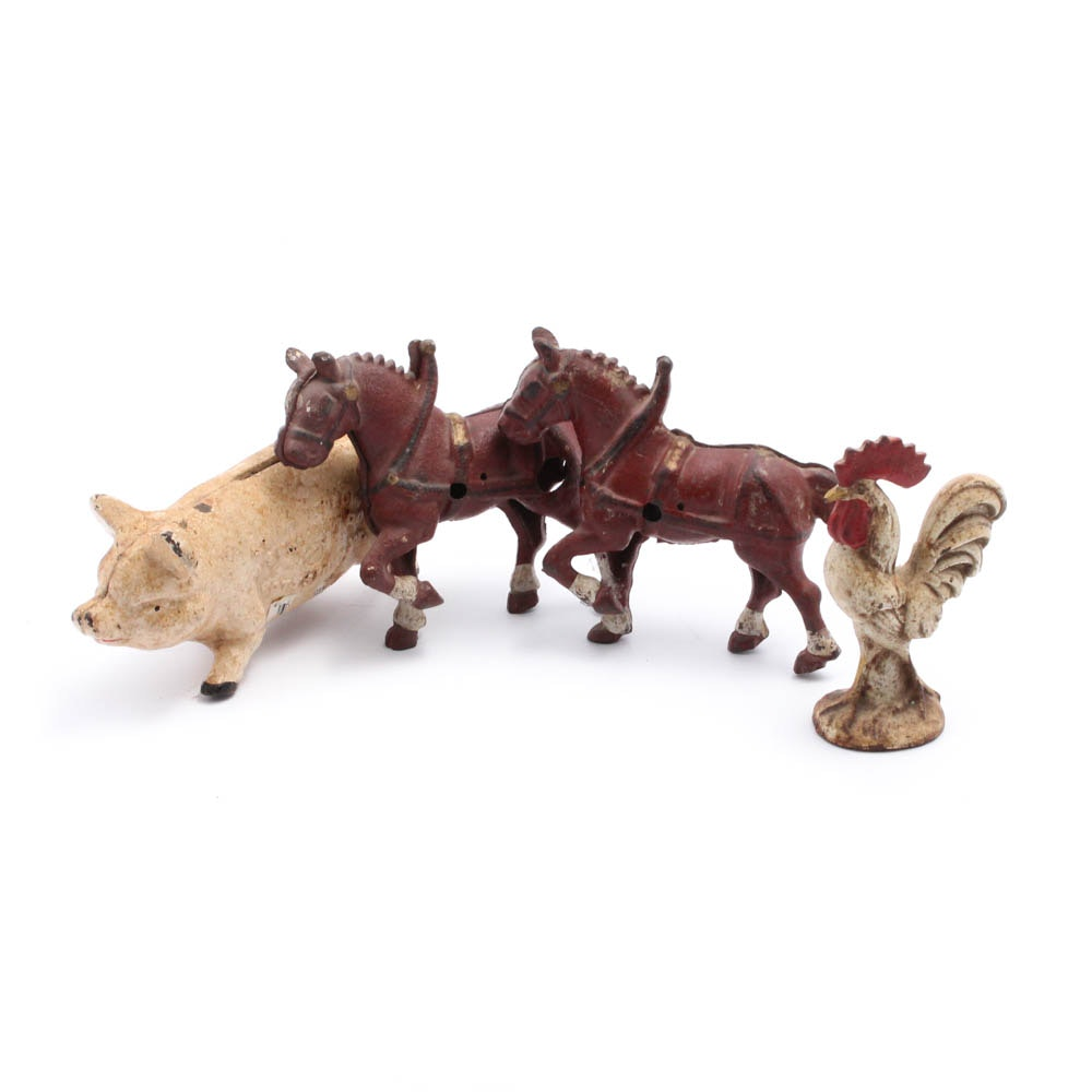 Antique Cast Iron Farm Animal Figurines Featuring Norco Foundry Piggy Bank