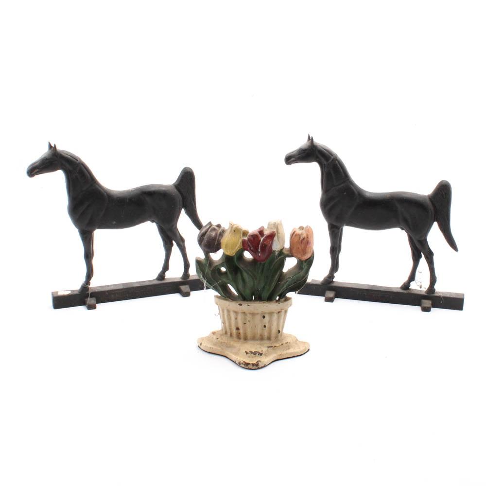 Vintage Cast Iron Decorative Doorstops Featuring Pair of Horses