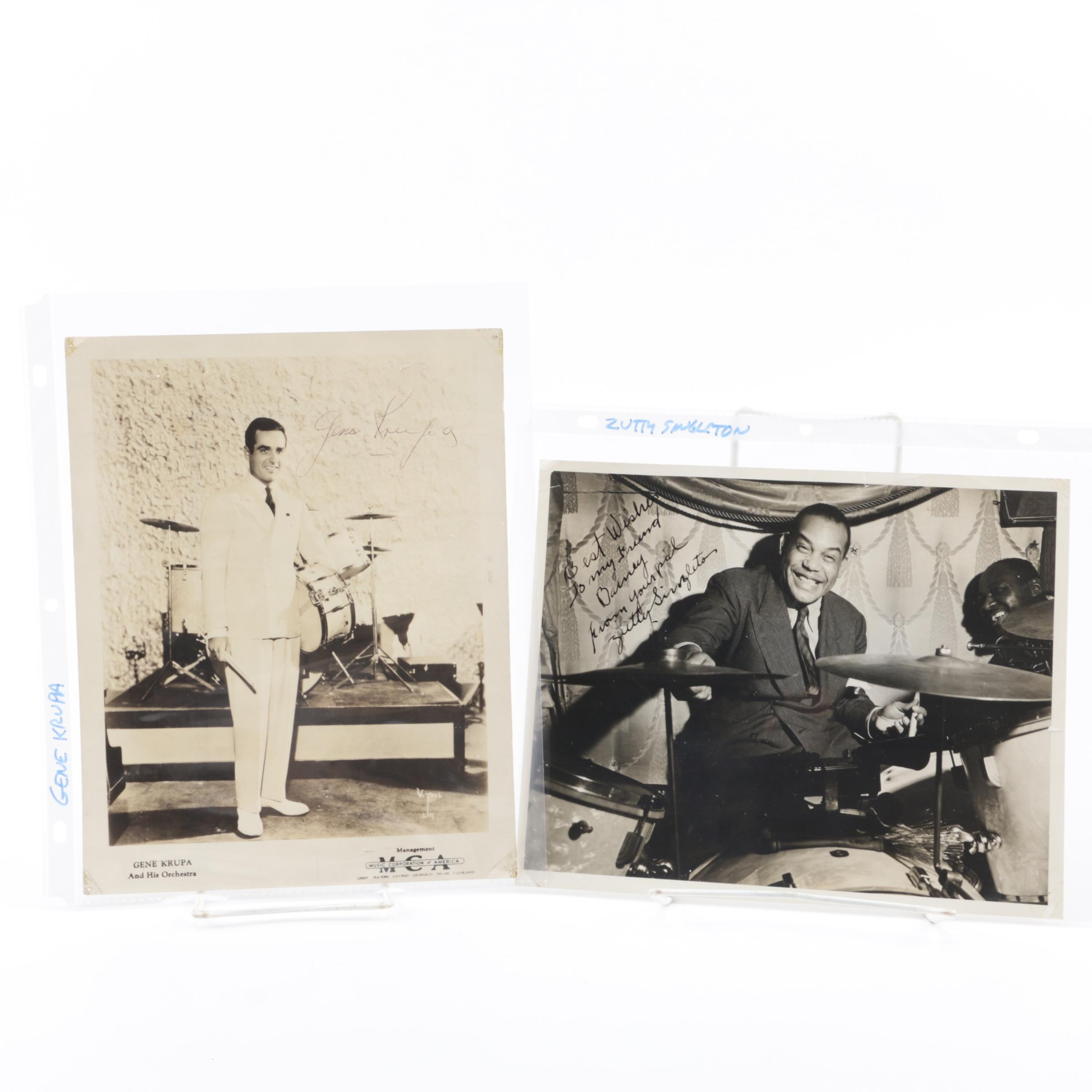 Gene Krupa and Zutty Singleton Autographed Photographs