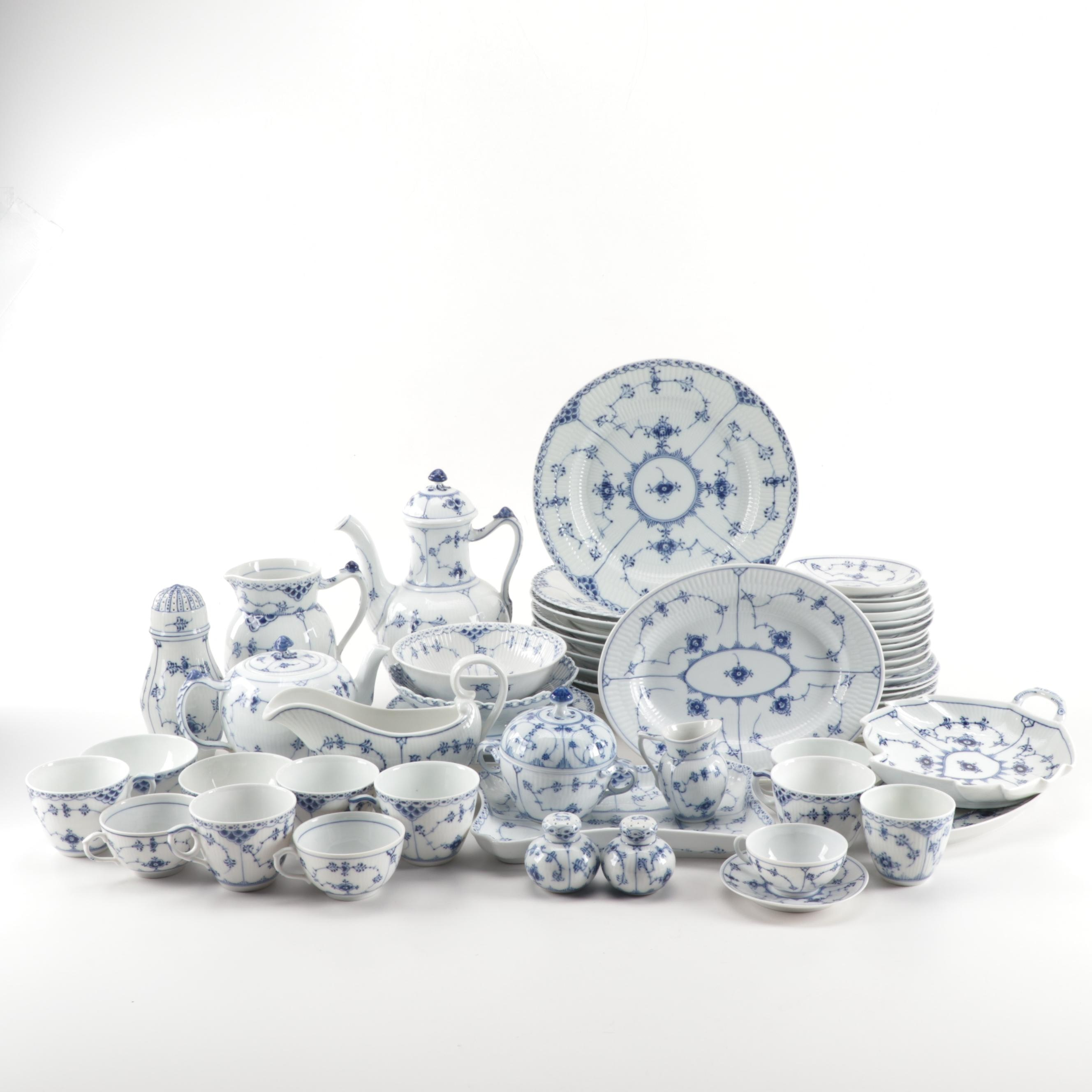 "Vintage Royal Copenhagen ""Blue Fluted"" Porcelain Dinnerware"