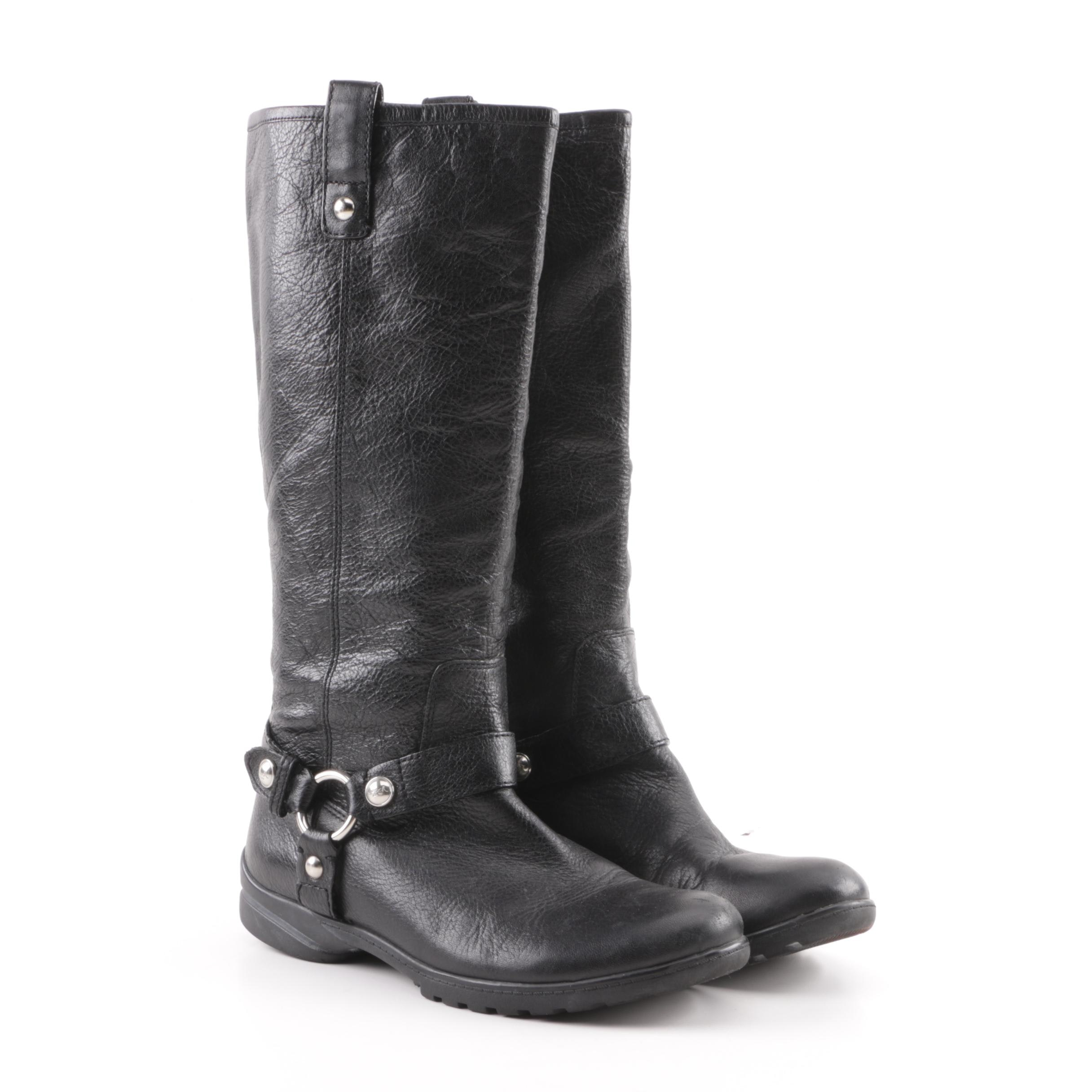 Women's Coach Dafney Black Leather Motorcycle Style Boots
