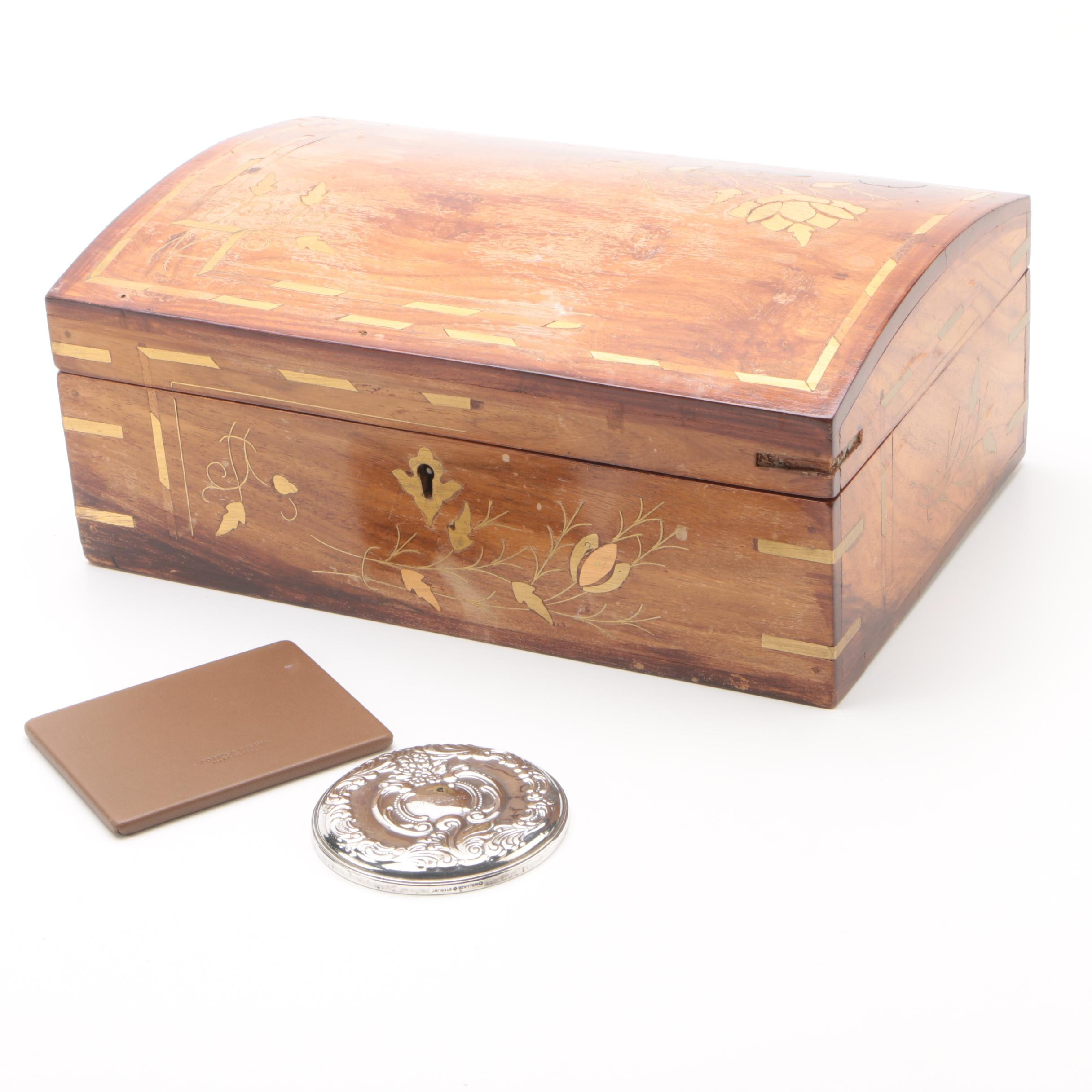 Wooden Jewelry Box with Wallace Silversmiths and Bottega Veneta Compact Mirrors