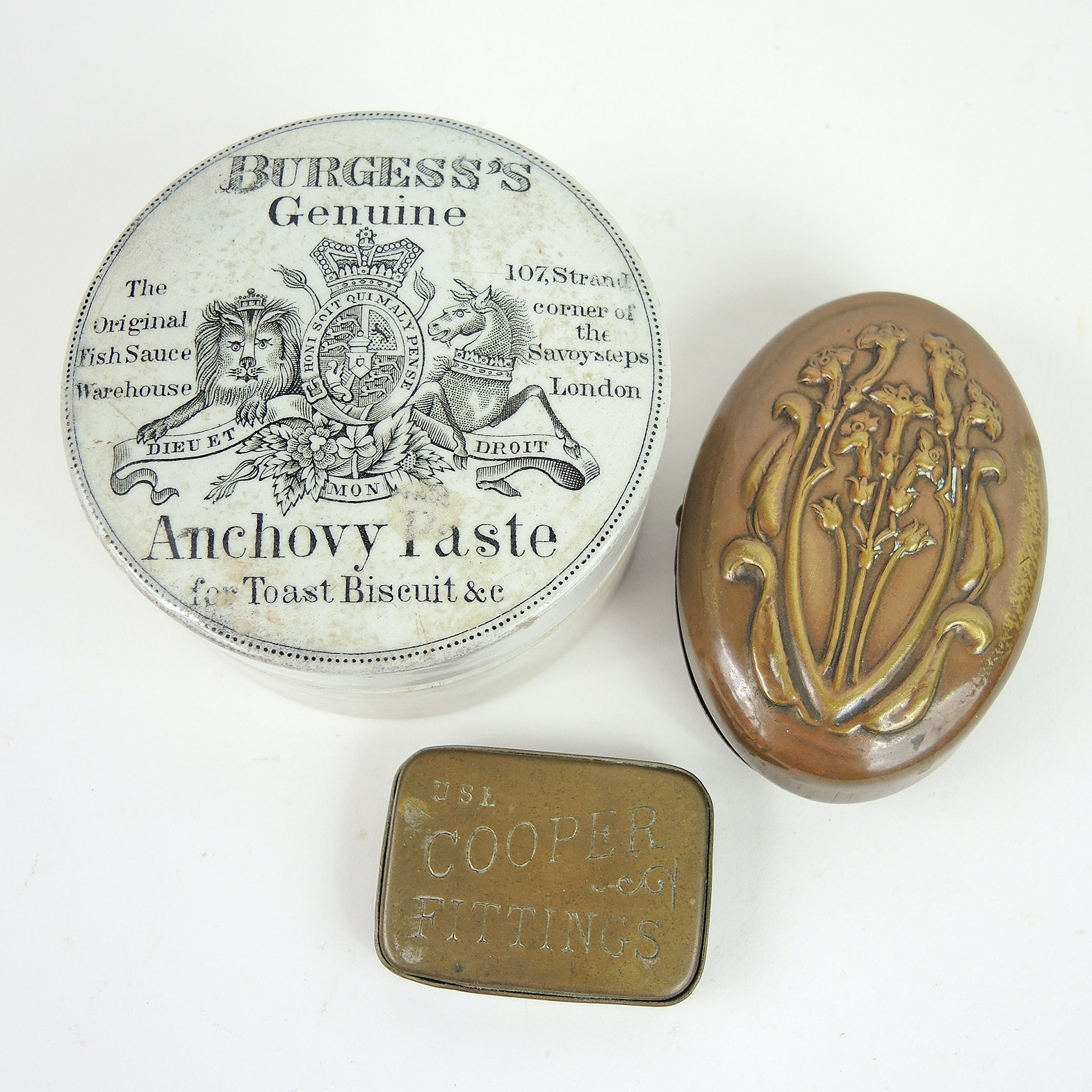 Antique English Tobacco Box, Anchovy Paste Pot and Match Box