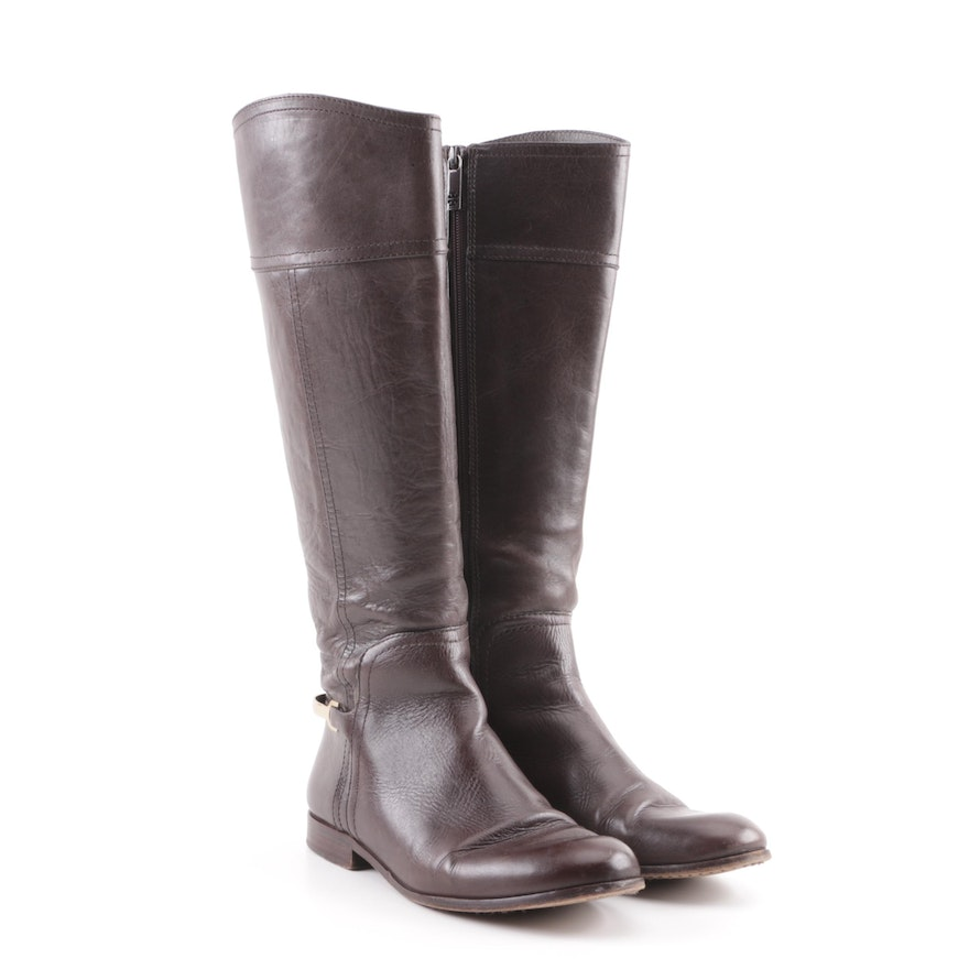 0bde537843d197 Tory Burch Brown Leather Knee-High Boots   EBTH