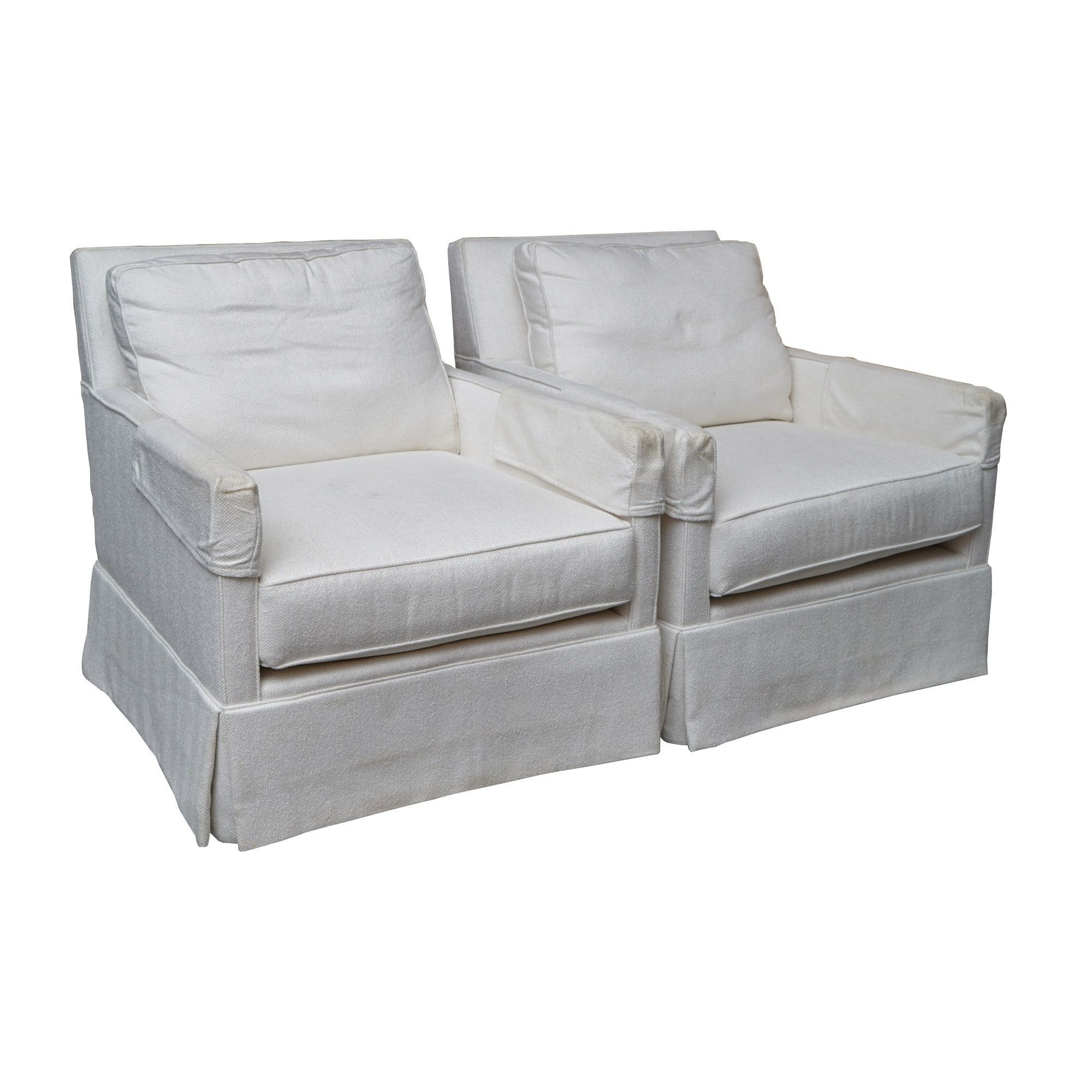 White Upholstered Lounge Chairs by Miles Talbott