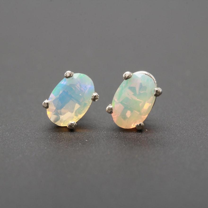72dd7bf65 10K White Gold Jelly Opal Stud Earrings : EBTH