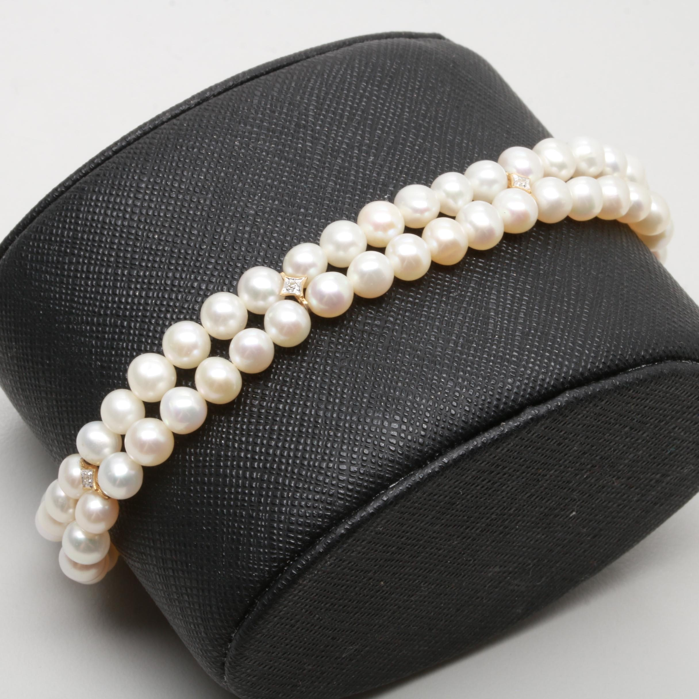 14K Yellow Gold Cultured Pearl and Diamond Two Strand Bracelet