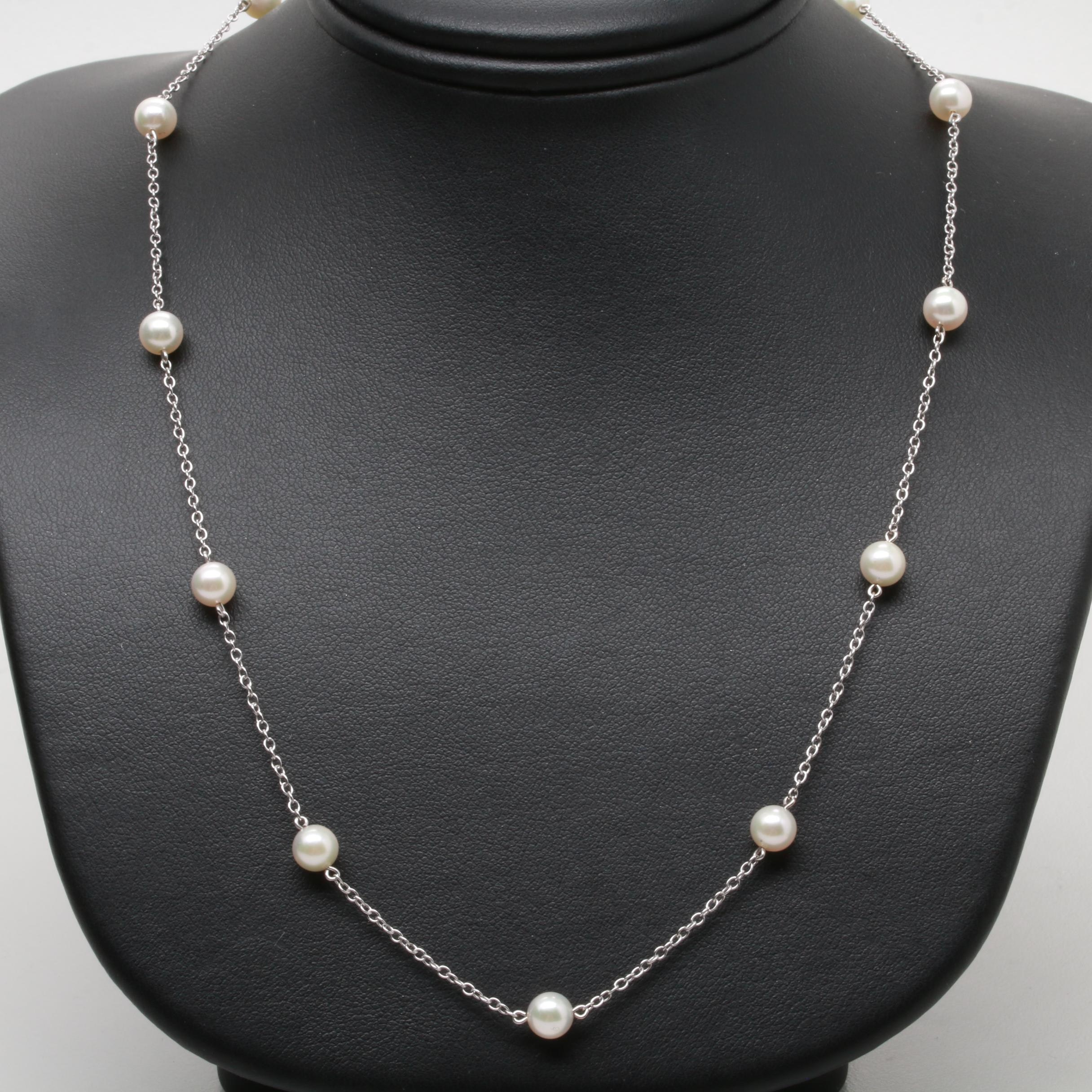 Mikimoto 18K White Gold Cultured Pearl Station Necklace