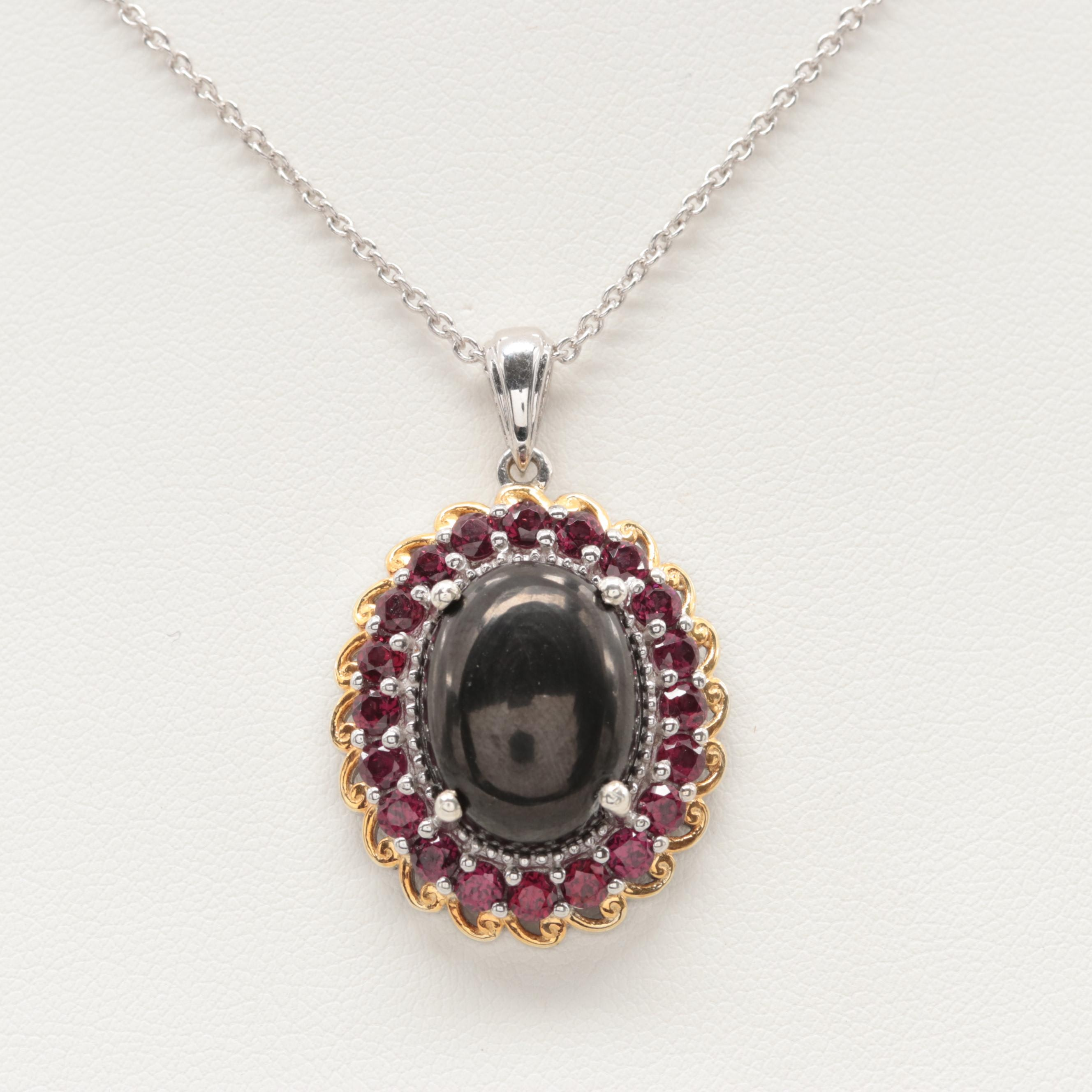 Sterling Silver Imitation Onyx and Rhodolite Garnet Pendant Necklace
