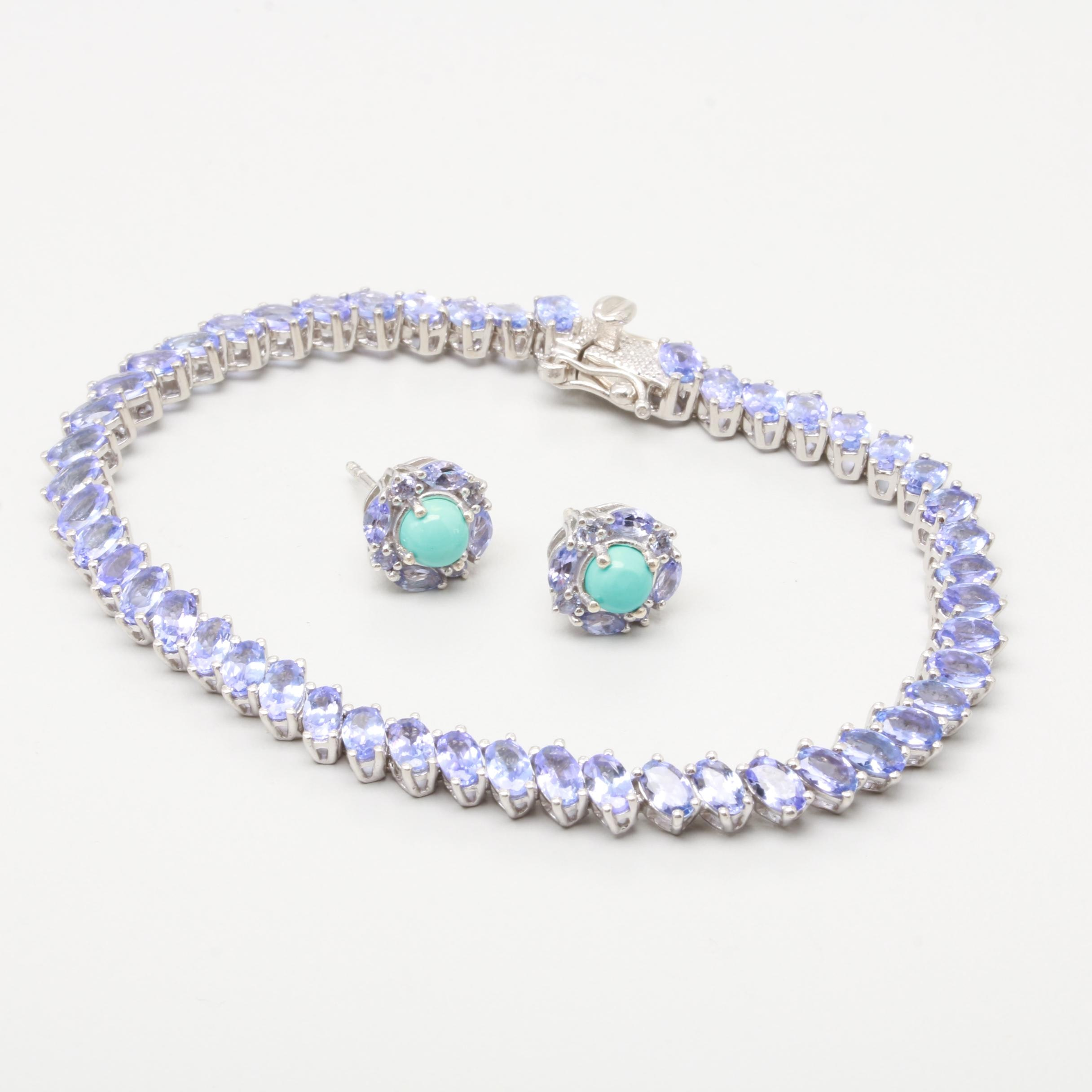 Sterling Silver Bracelet and Earrings with Tanzanite and Turquoise