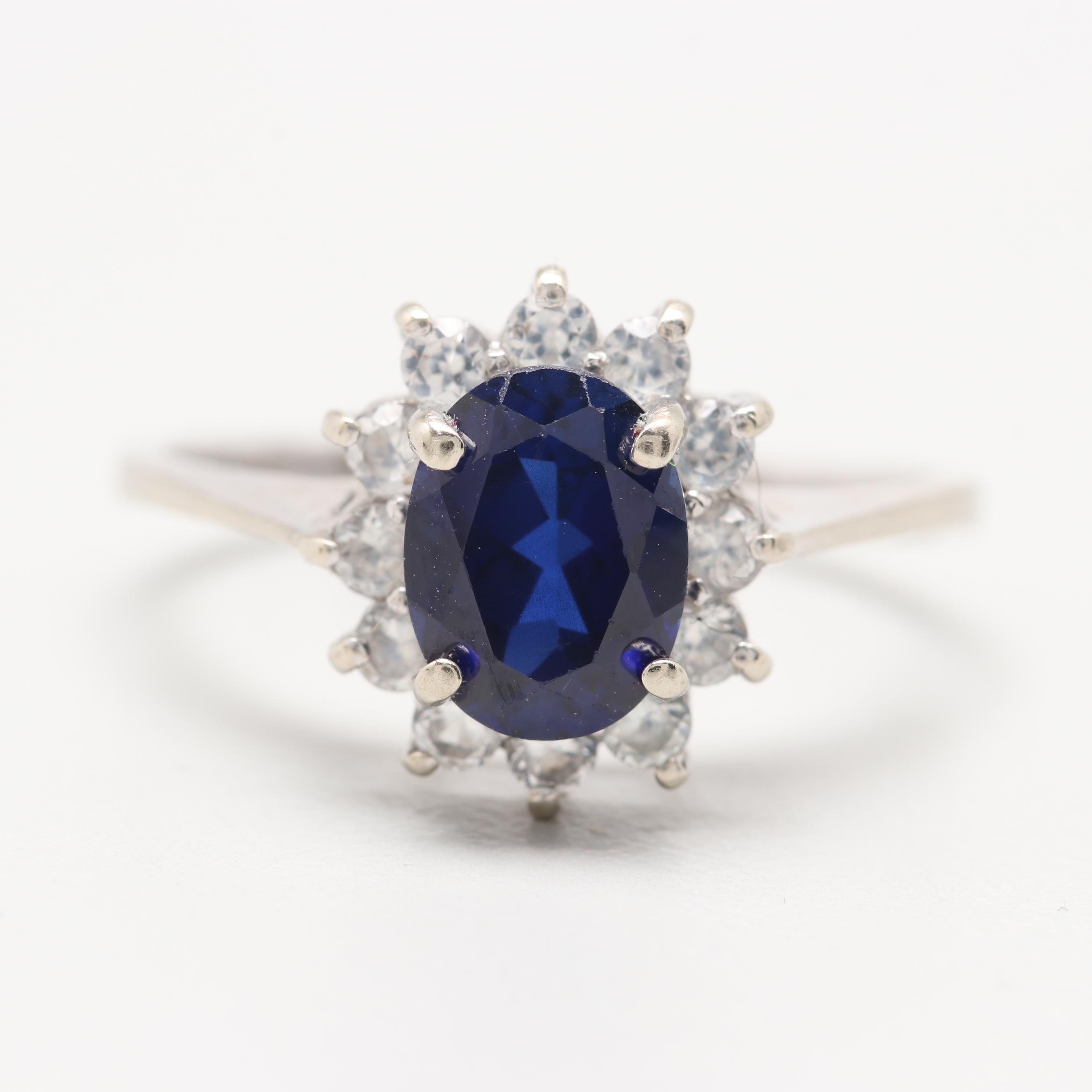 10K White Gold Synthetic Sapphire Ring