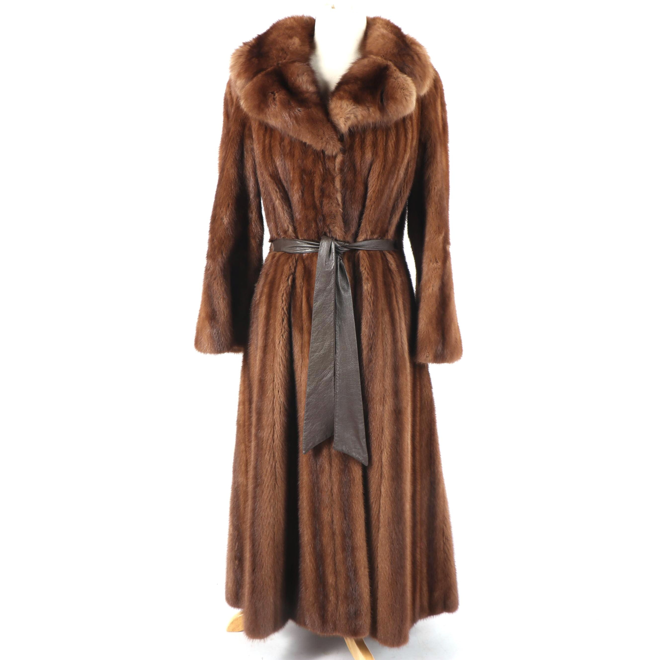 Vintage Frost Bros. Full-Length Mink Fur Coat with Sable Fur Collar
