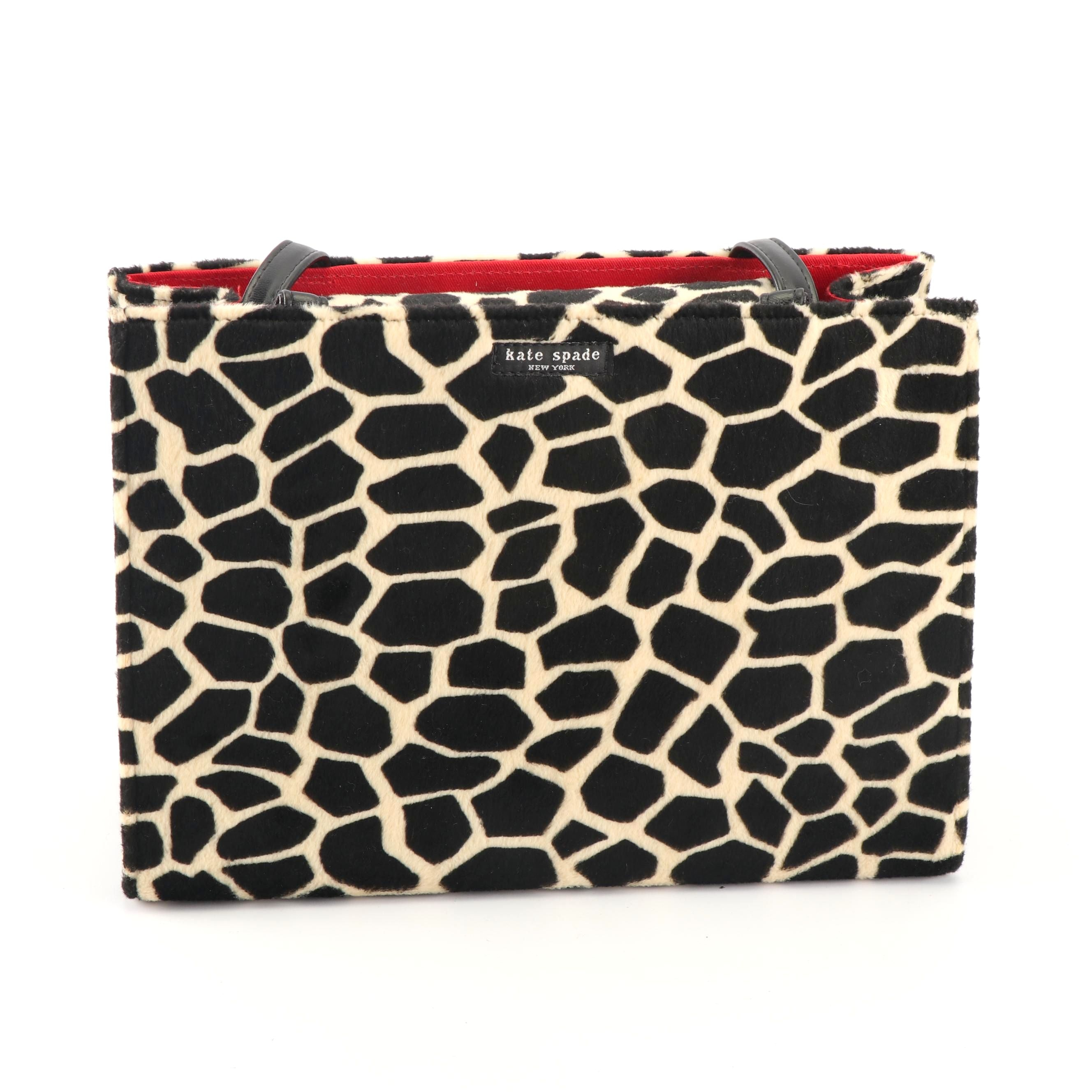 Kate Spade New York Sam Faux Fur Giraffe Print Structured Shoulder Bag