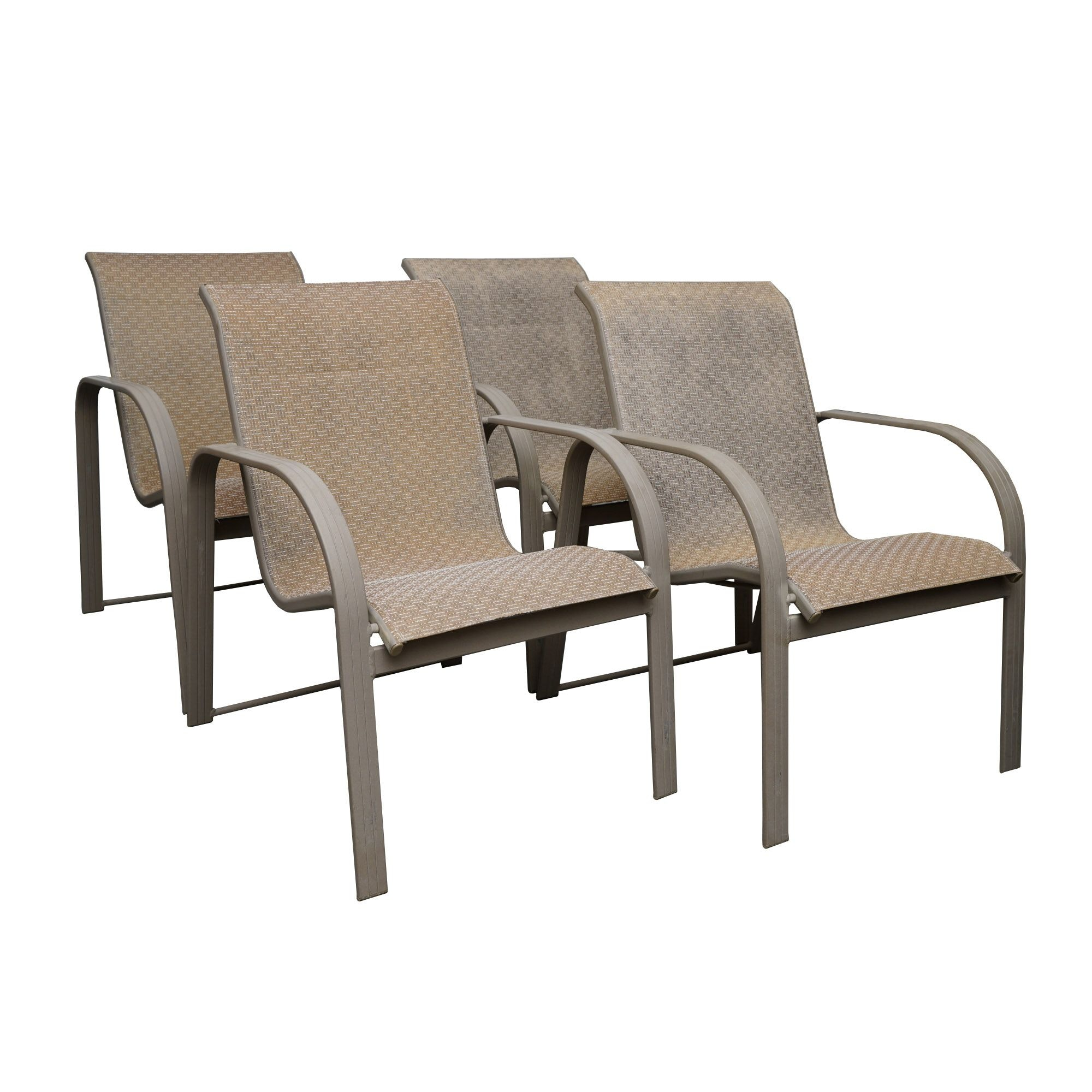 Woven Sling Seat Patio Chairs